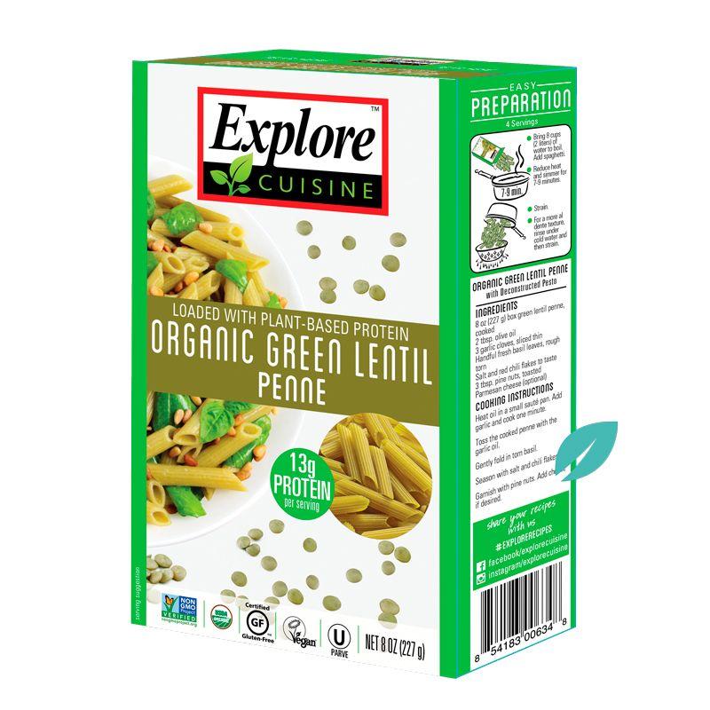 Penne Pasta Lentejas Verdes Organicos Explore Cousine 227 grs