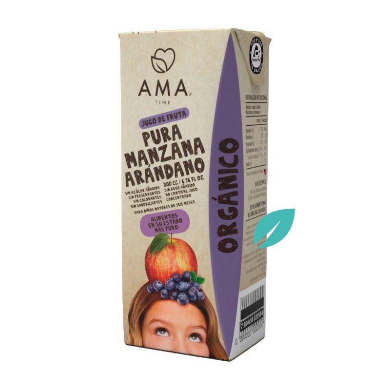 Jugo de frutas Orgánico Manzana Arandanos Ama 200 cc