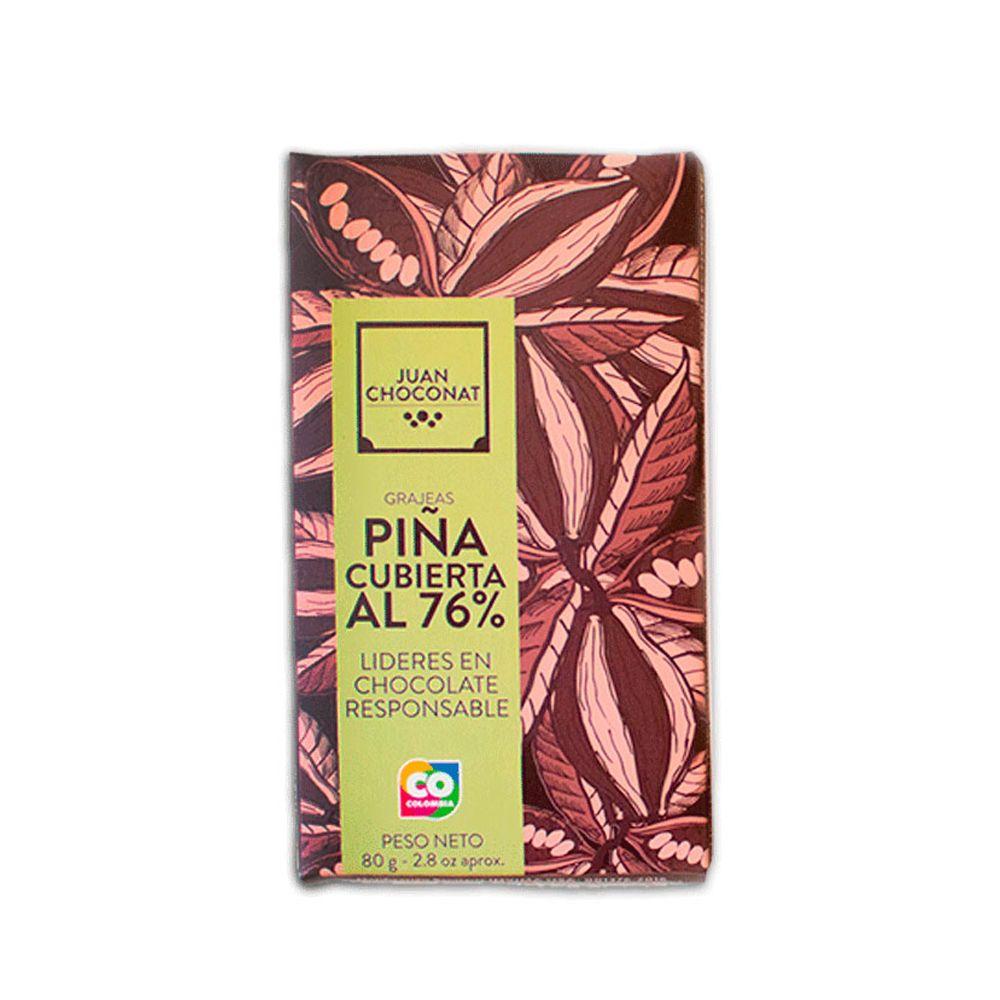 Choconat - Grajeas Piña Cubierta al 76% Sin Tostar 80 gr