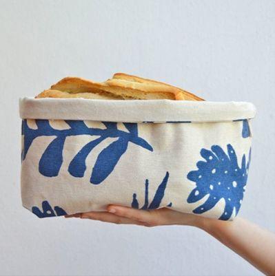 Canasto L Hojitas Azul