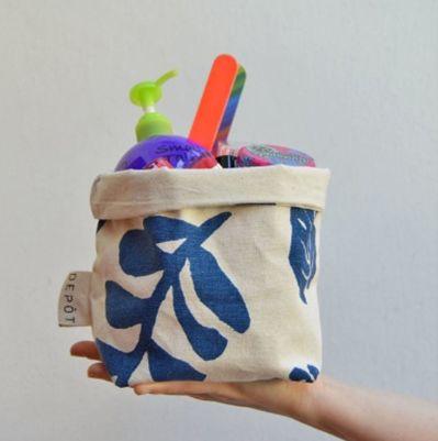 Canasto M Hojitas Azul