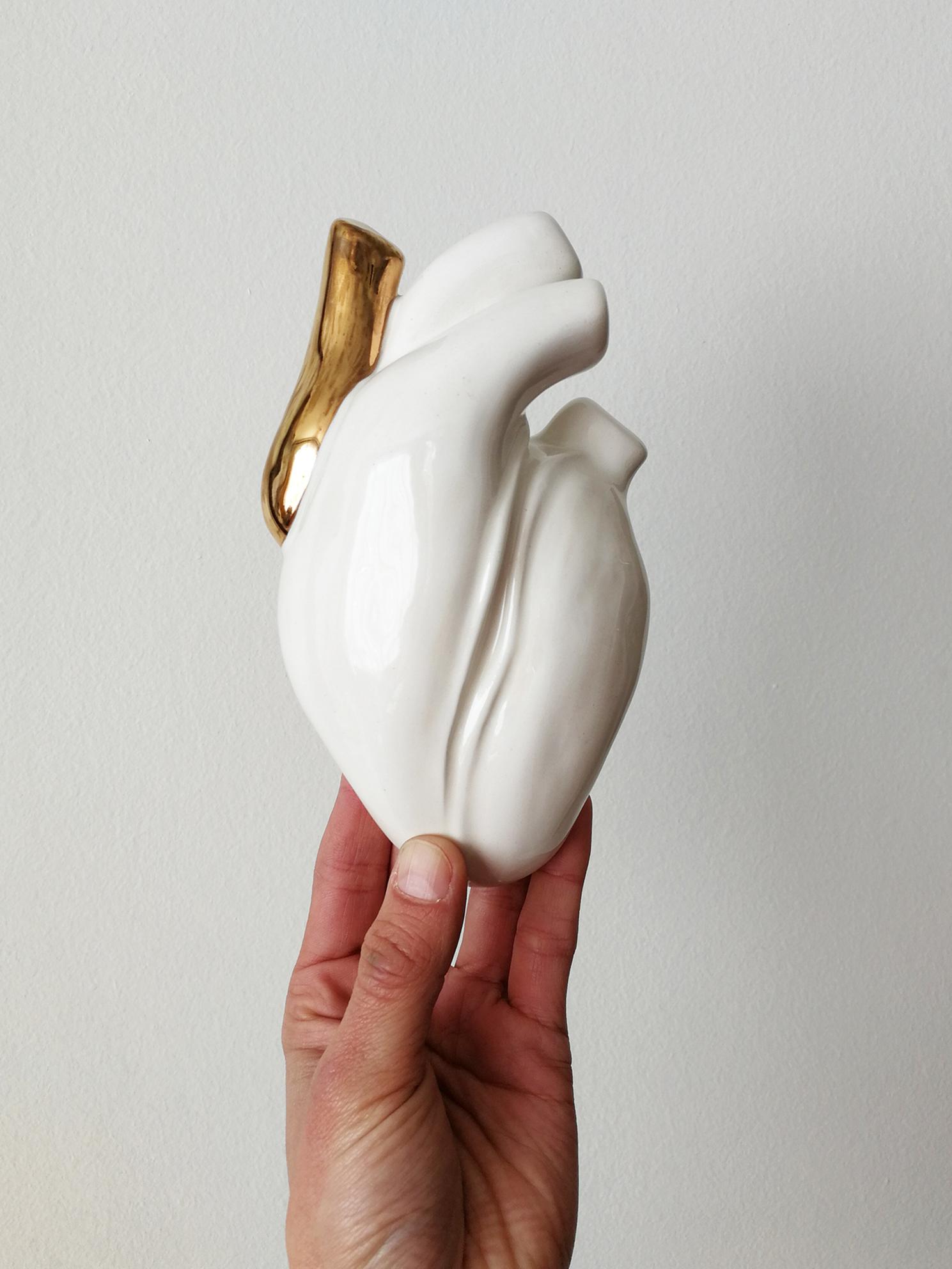 Corazón de Cerámica  Vena Oro Blanco