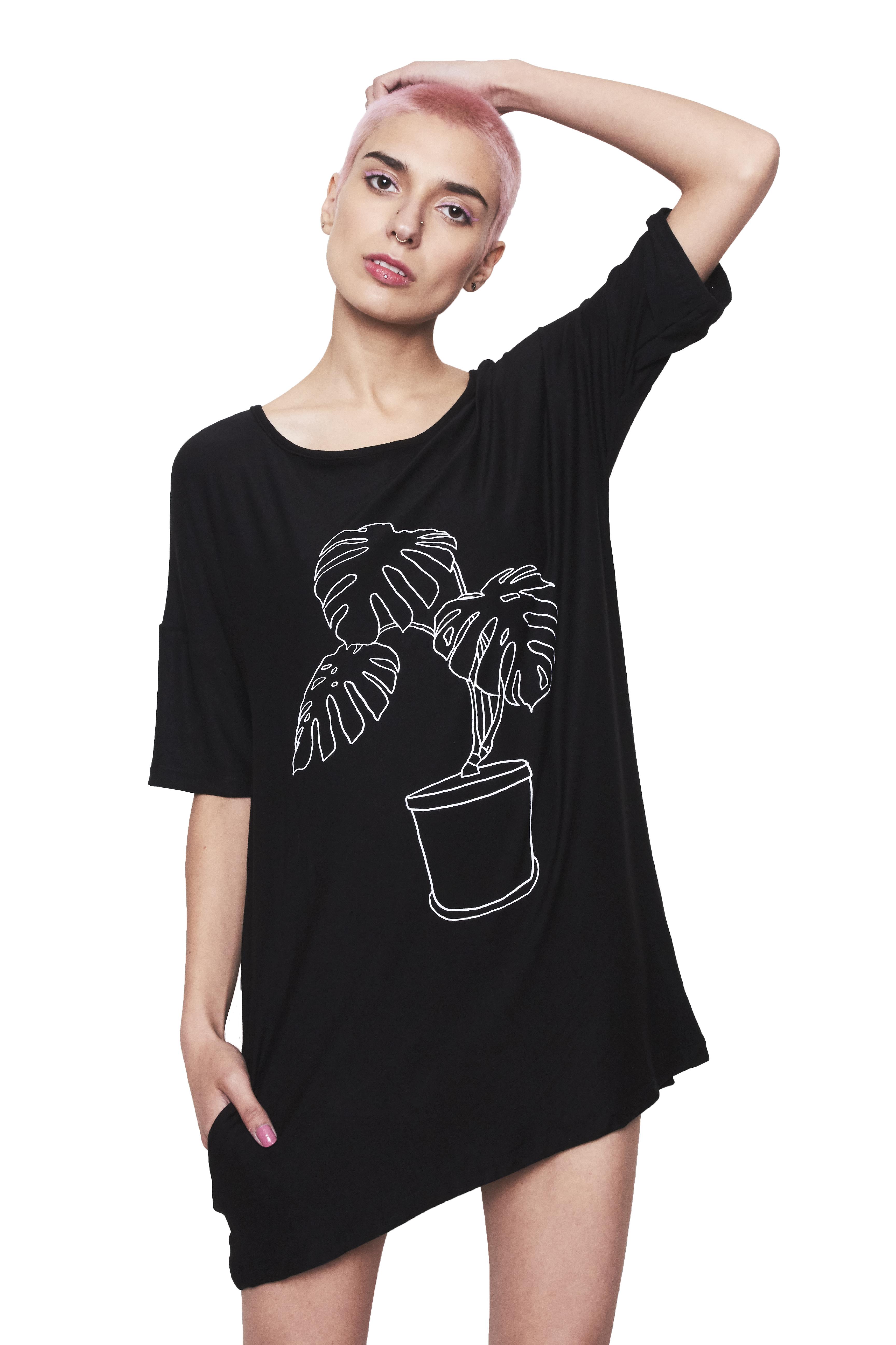 Mini vestido negro planta macetero