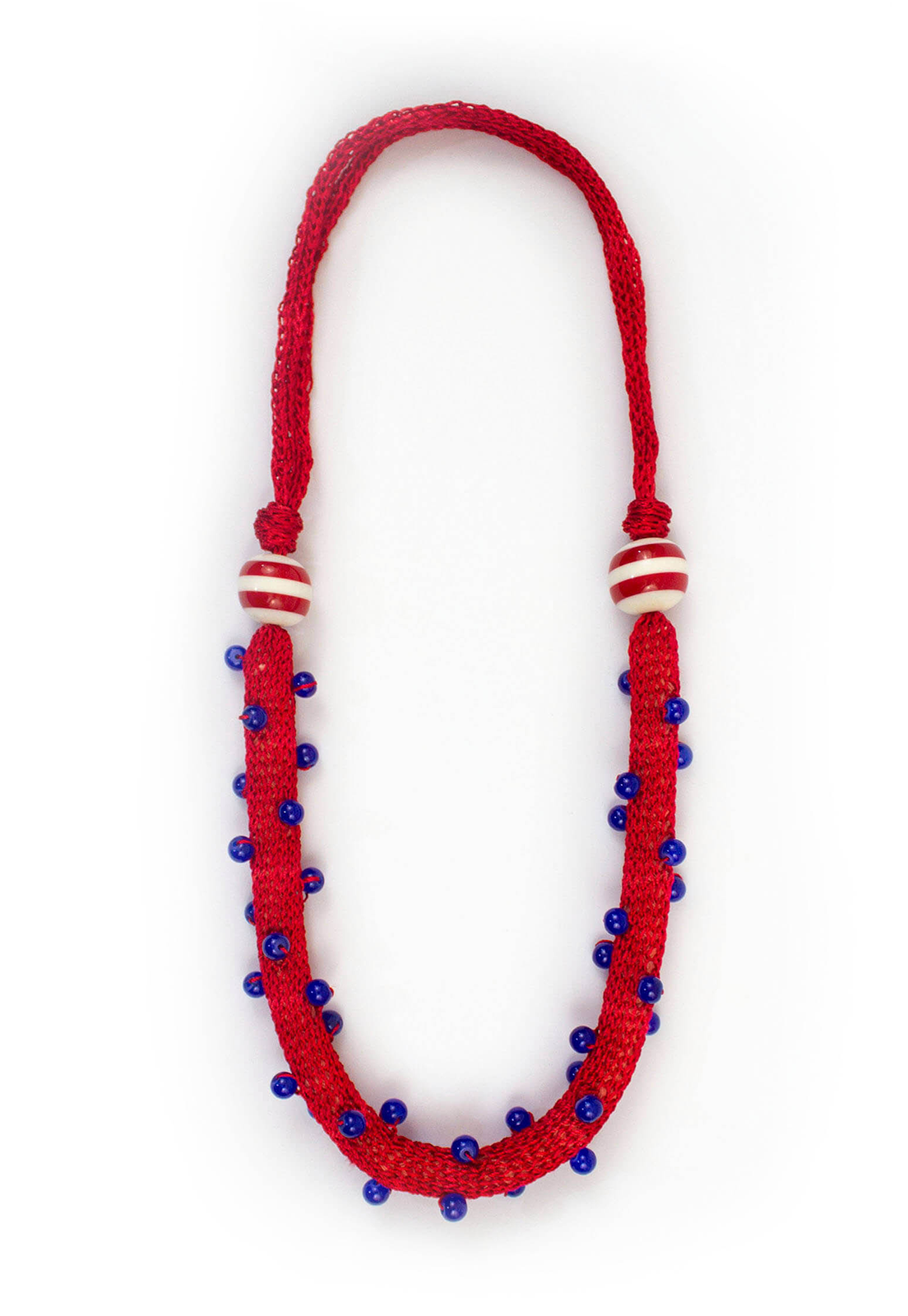 Collar Juana Rojos / Perlas Azul