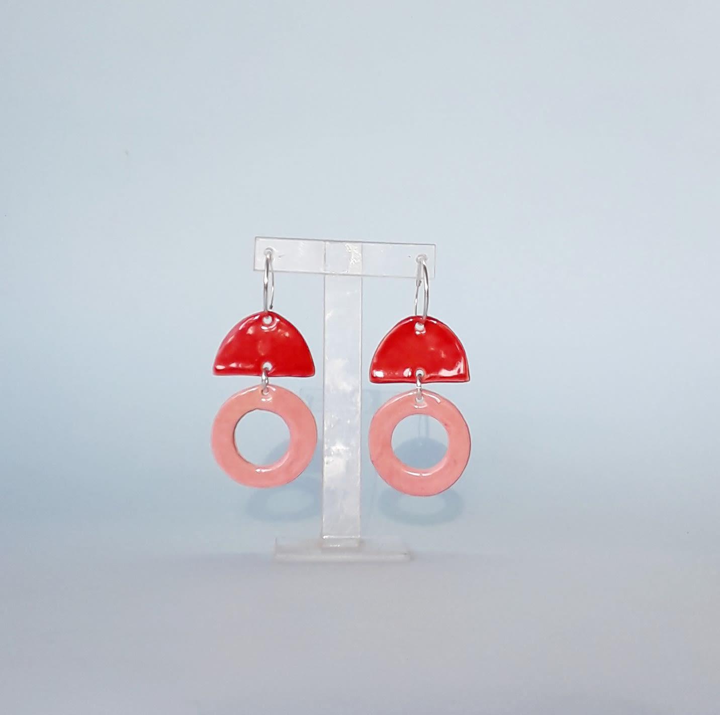 Aros Ceramica Rojos Argollas Plata