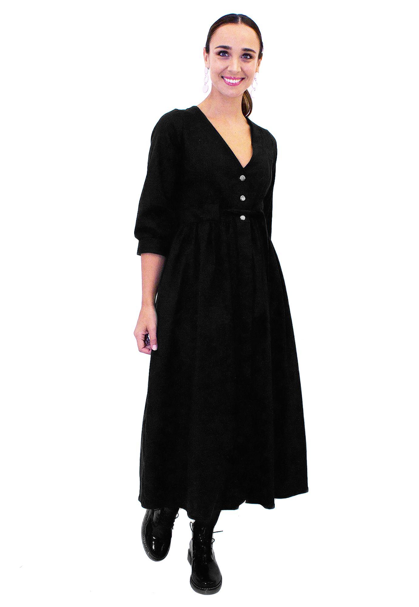 Vestido Largo Negro Largo Vestido Basico Negro Basico Vestido L4ARj5