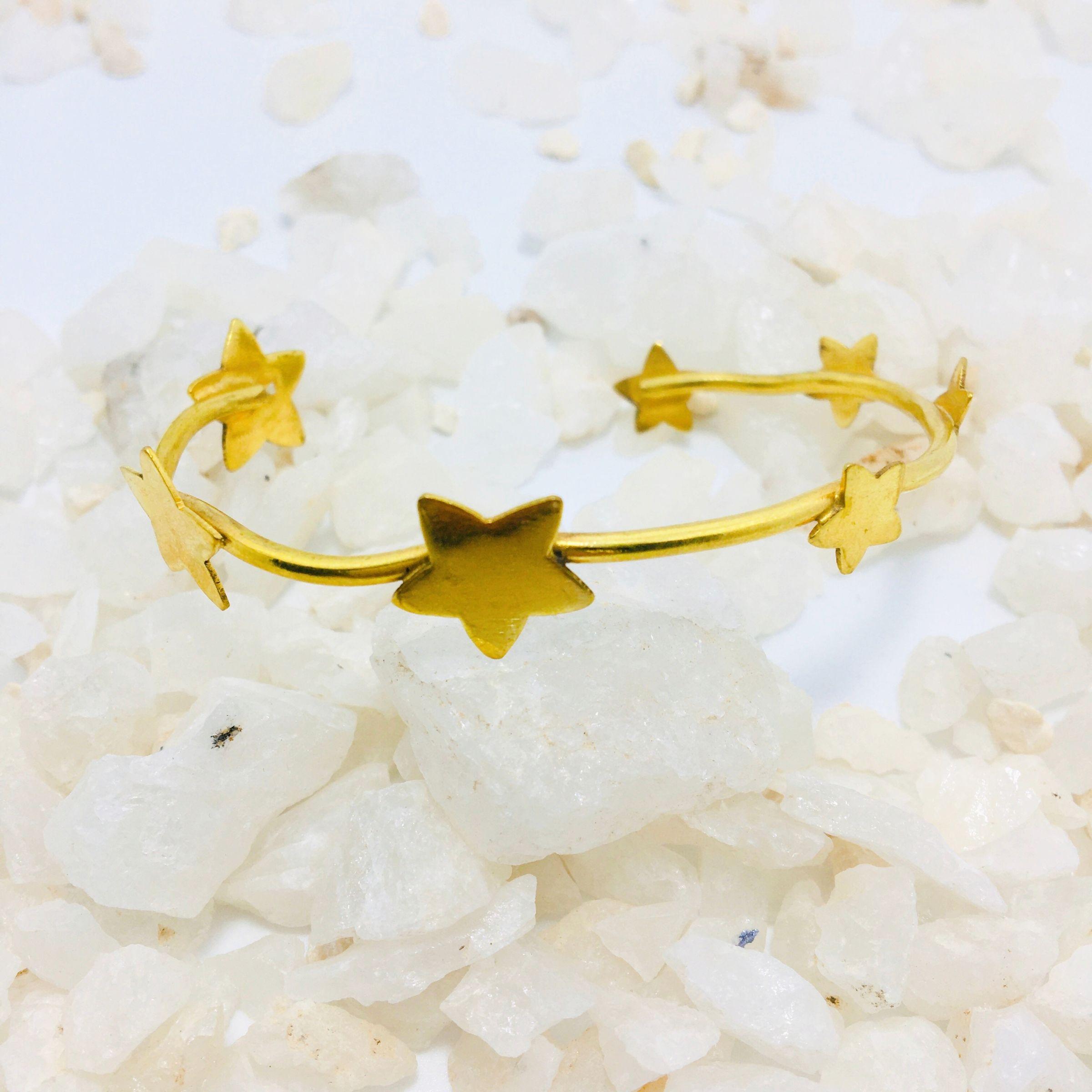 Brazalete Ajustable Estrellas Dorado