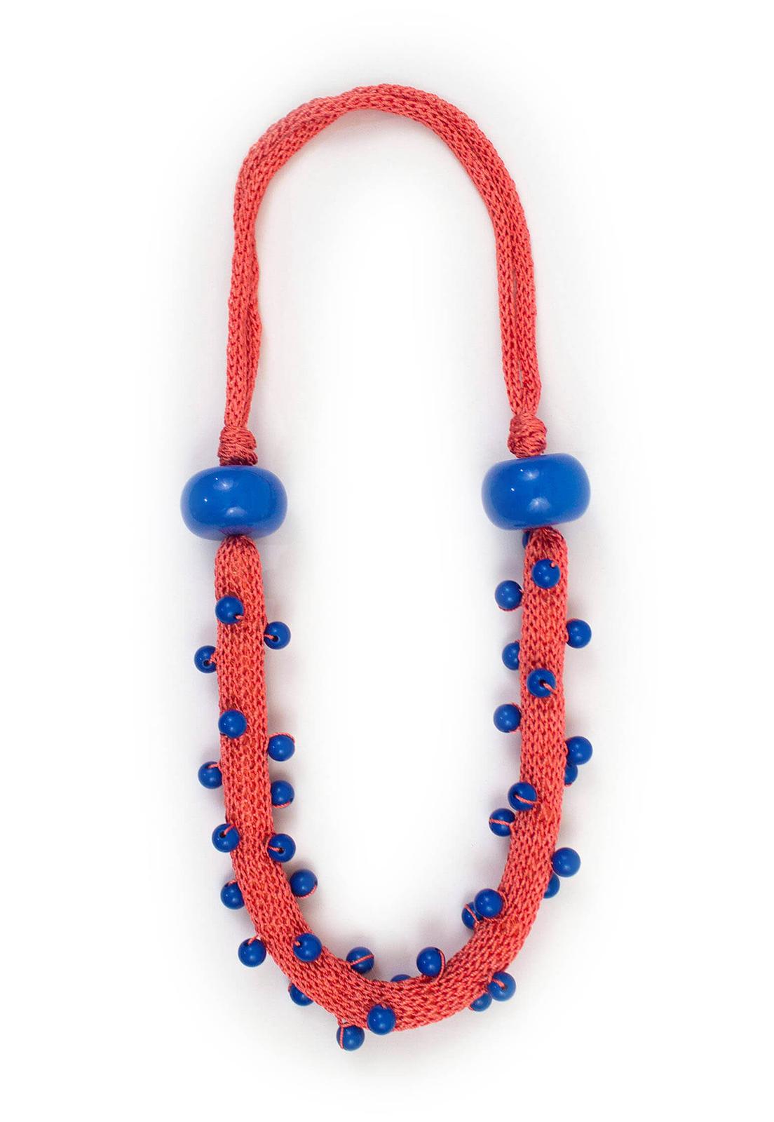 Collar Juana Salmón / Perlas Azul