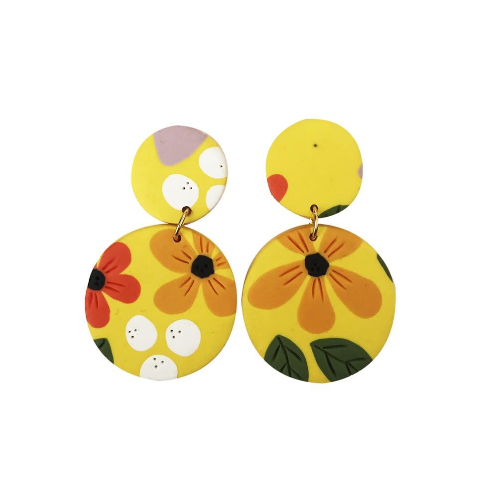 Aros Flores Amarillas - Marmol Accesorios