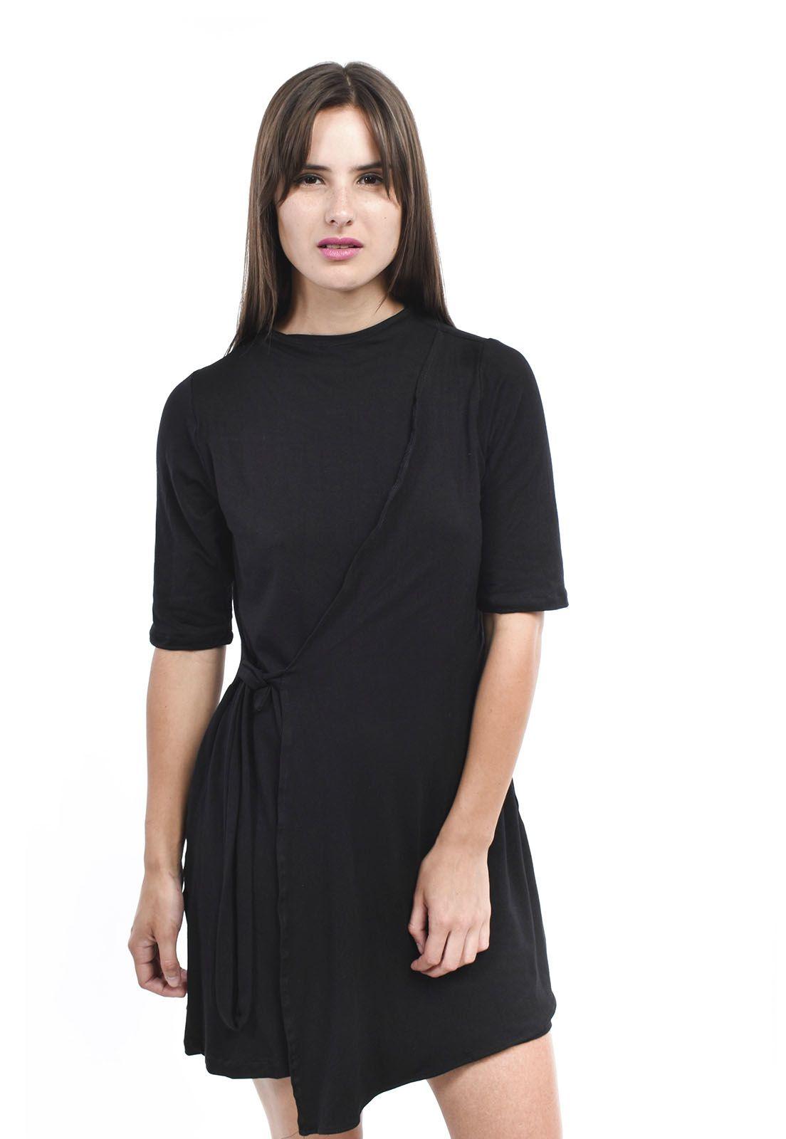 Vestido Lisa negro amarra