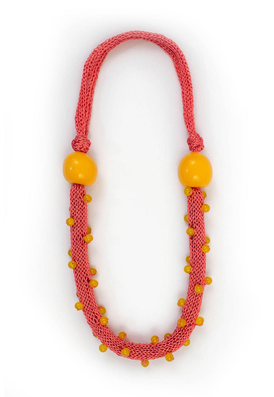 Collar Juana Salmón / Perlas Amarillas