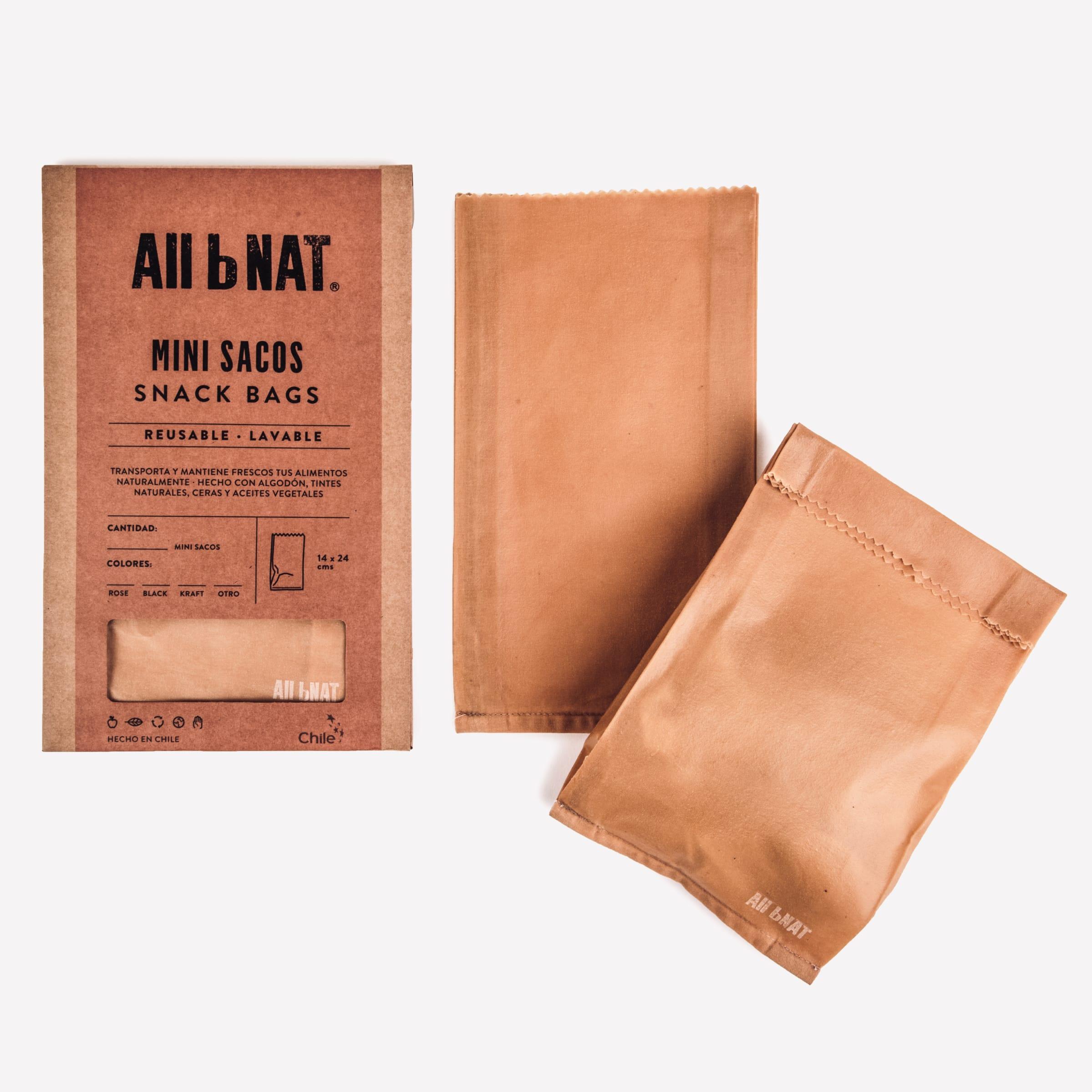 pack mini bolsa snack reutlizable de alimentos  2 unid