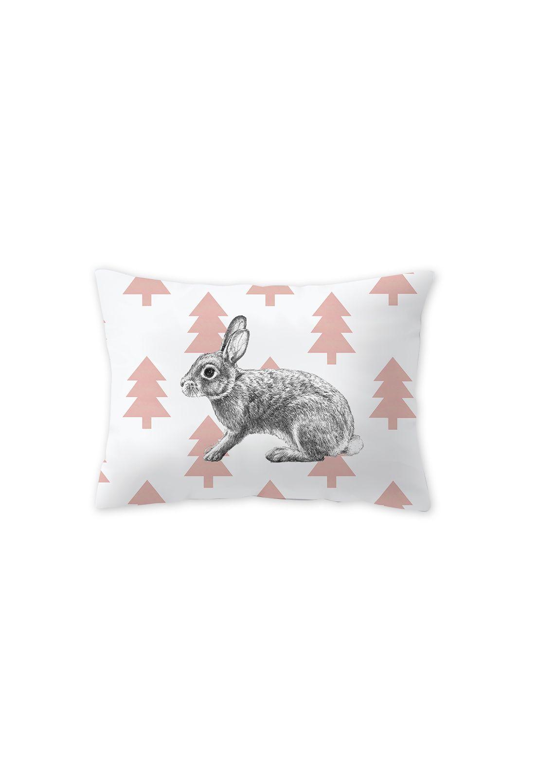 Mini Almohada Conejo Pinos Rosado