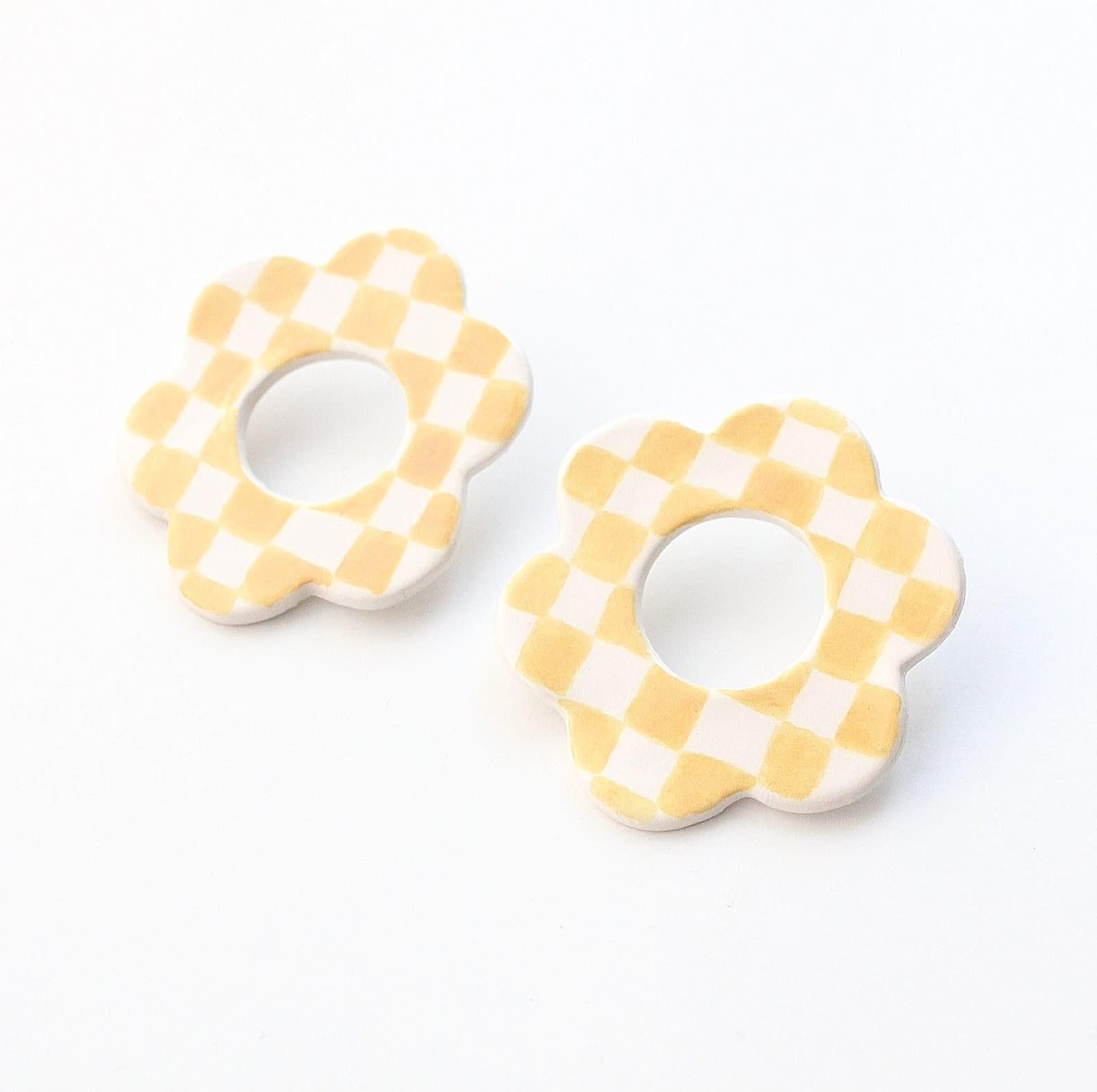 Aros Flor chekerboard amarillos