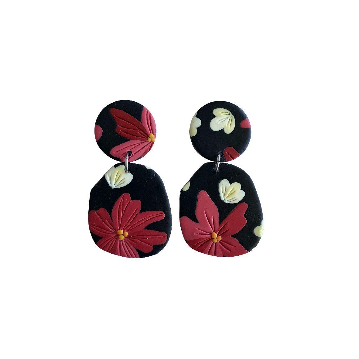 Aros Negros flores rosadas