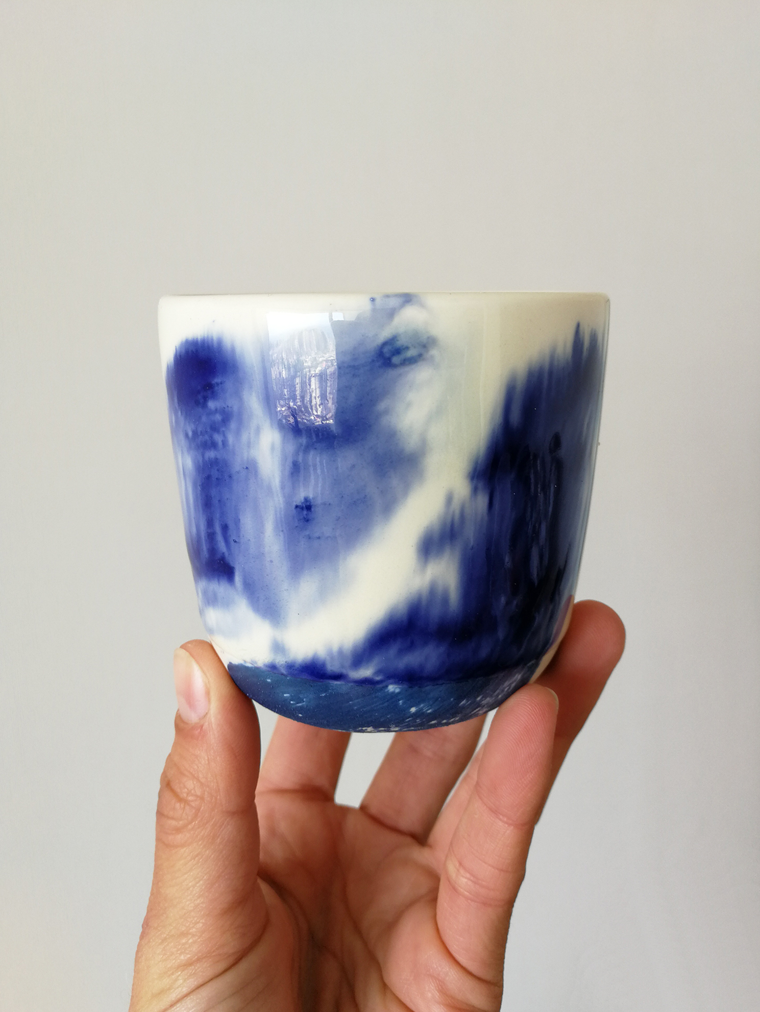Vaso Redondo Cerámica Gres Manchas Tamaño Capuccino Azul