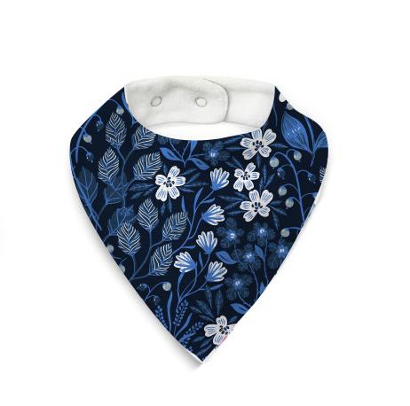 babero flores azules