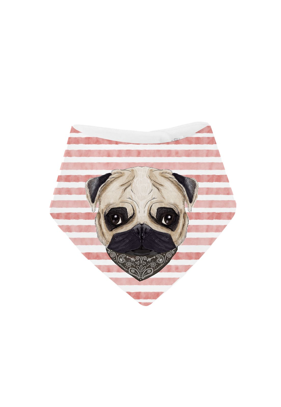 Babero Pug Stripes Red