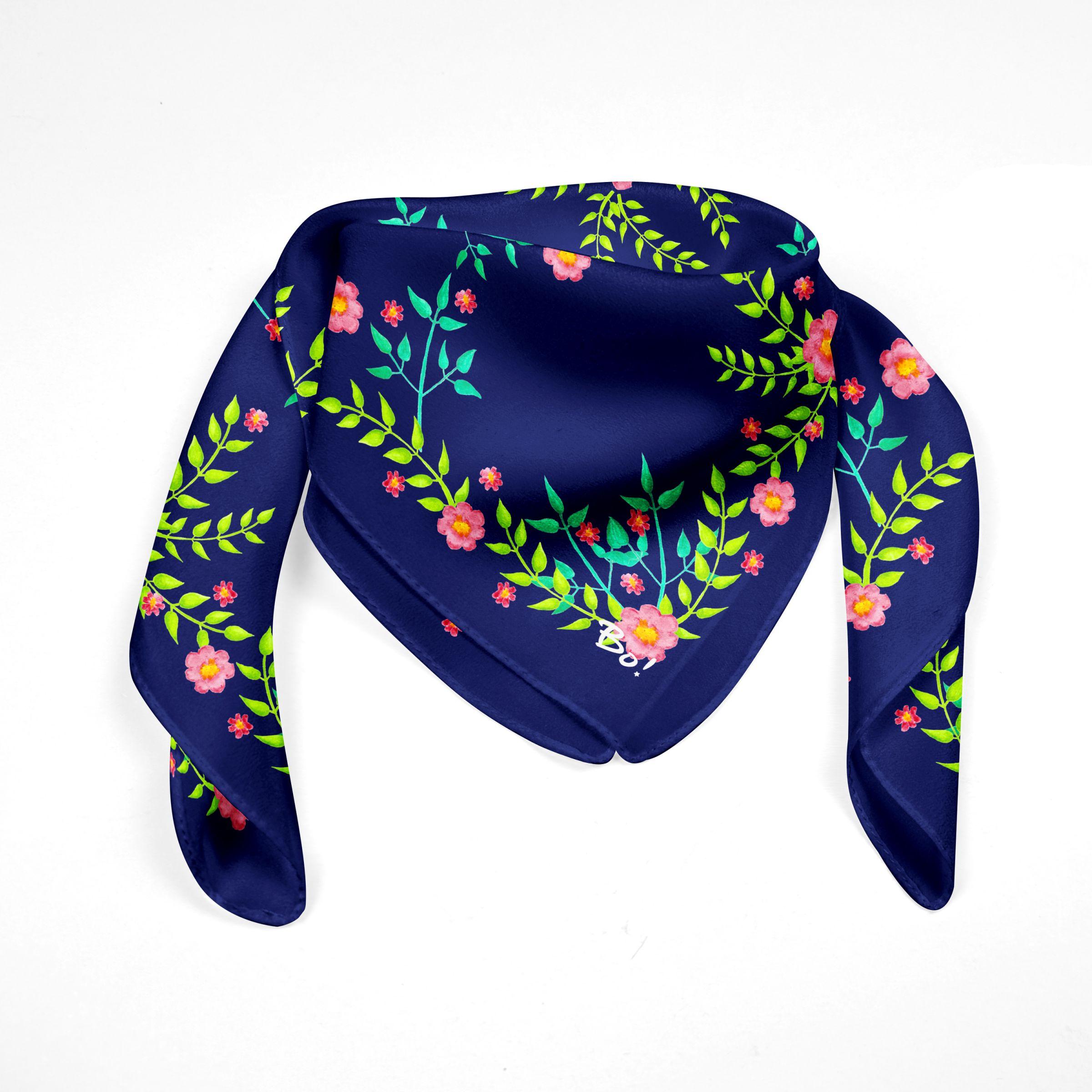 Pañuelo Begonia Azul 60x60