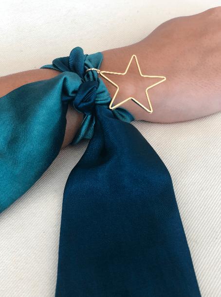 Pulsera Seda Natural Verde Petroleo Estrella