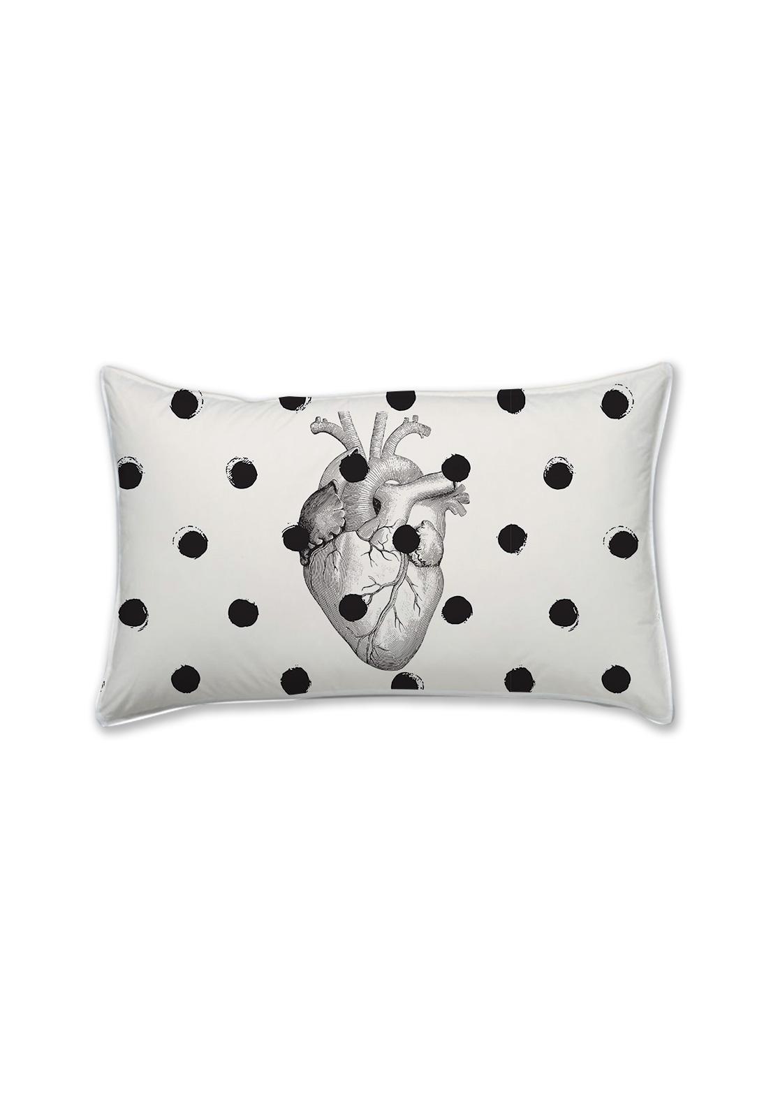 Mini almohada corazon puntos negro