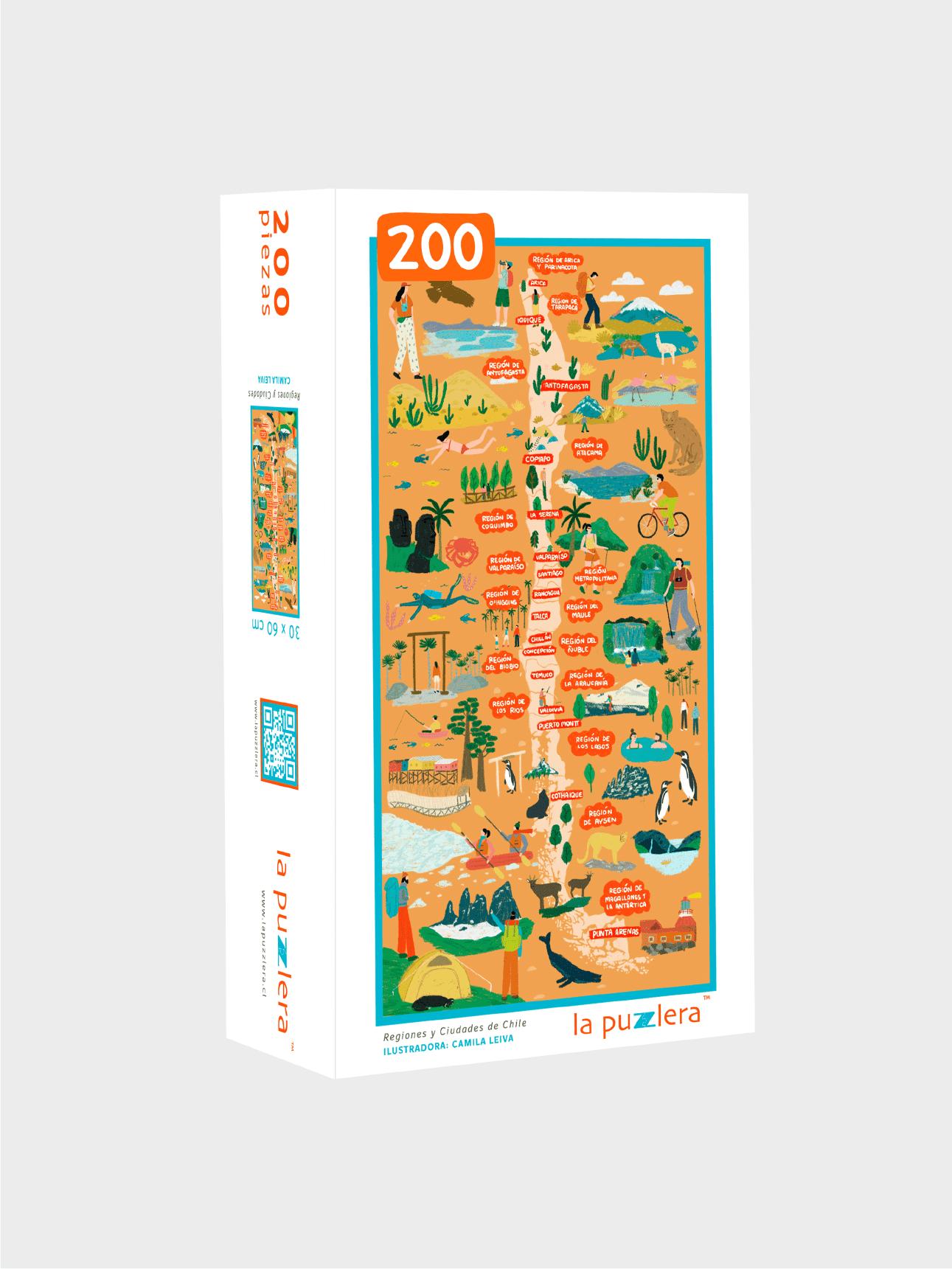 Puzzle 200 Piezas Regiones y Ciudades de Chile