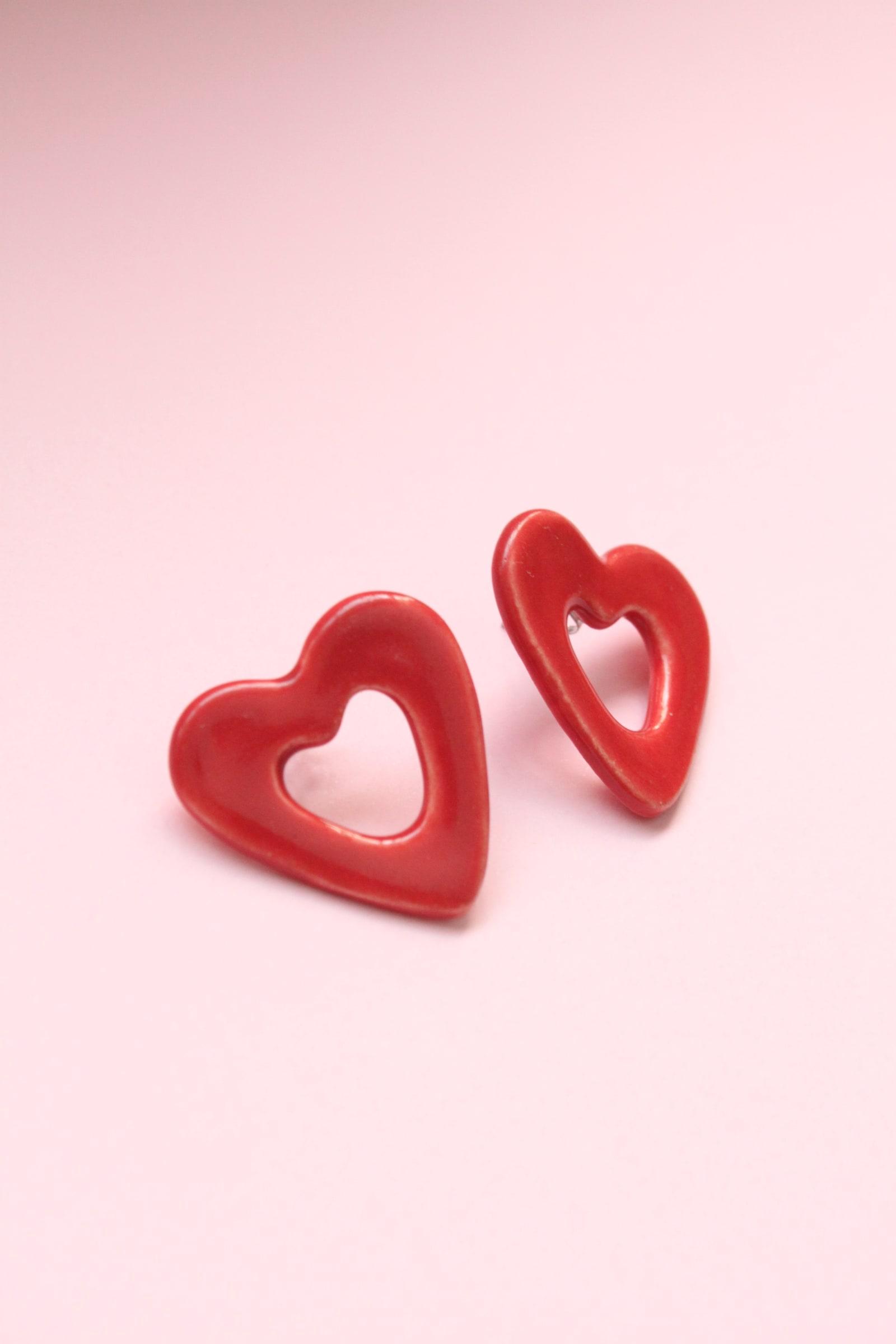 Aros Corazón de una pieza rojos
