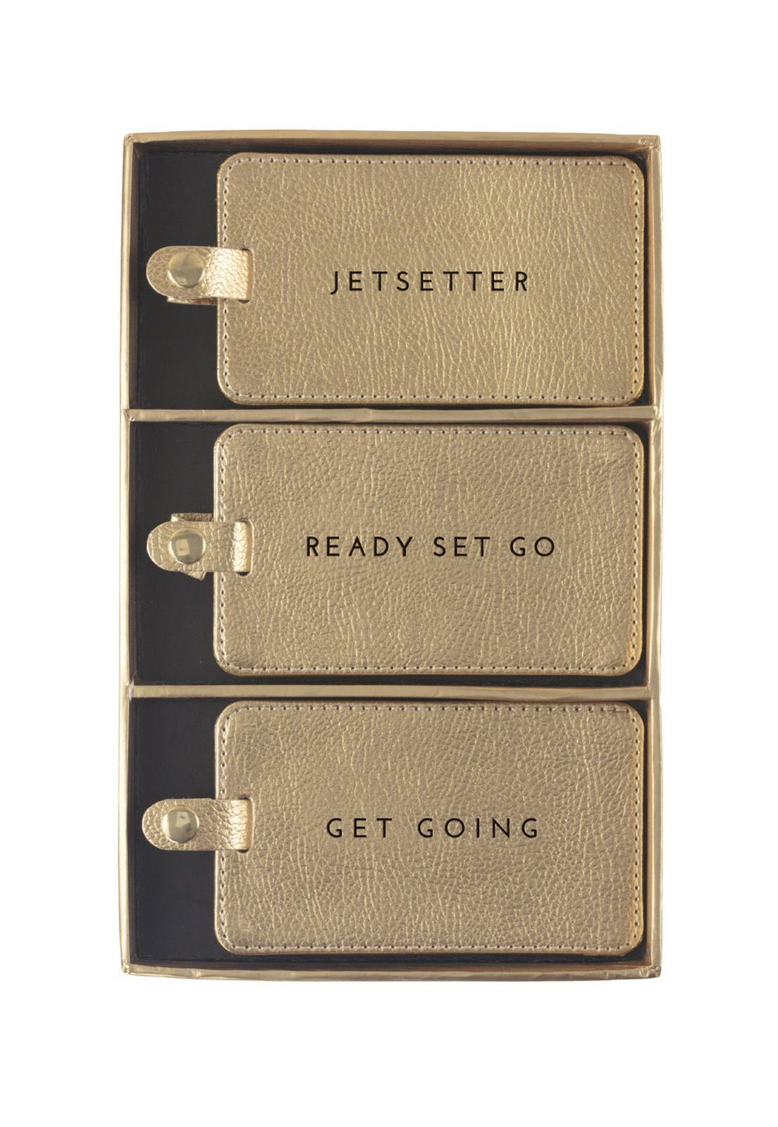 Luggage Tag Set of 3 Gold Shimmer