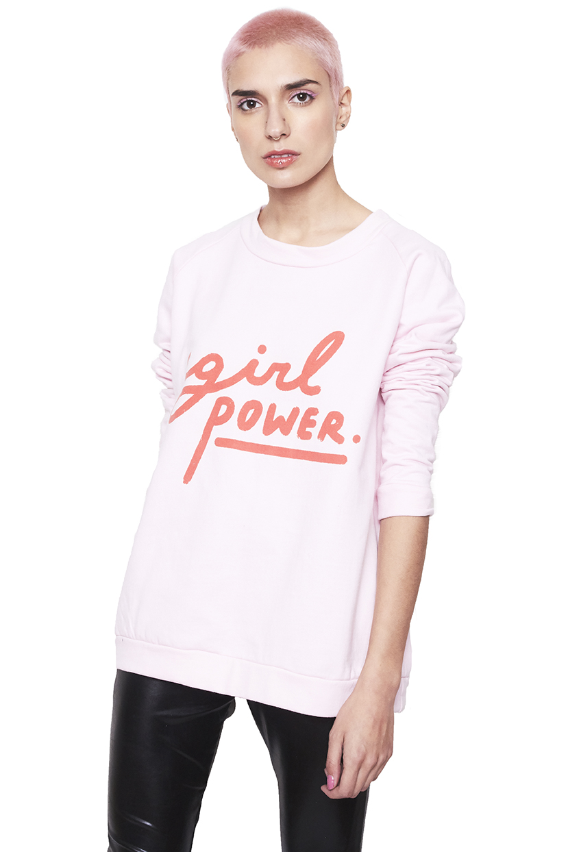 Poleron rosado Girl Power rojo