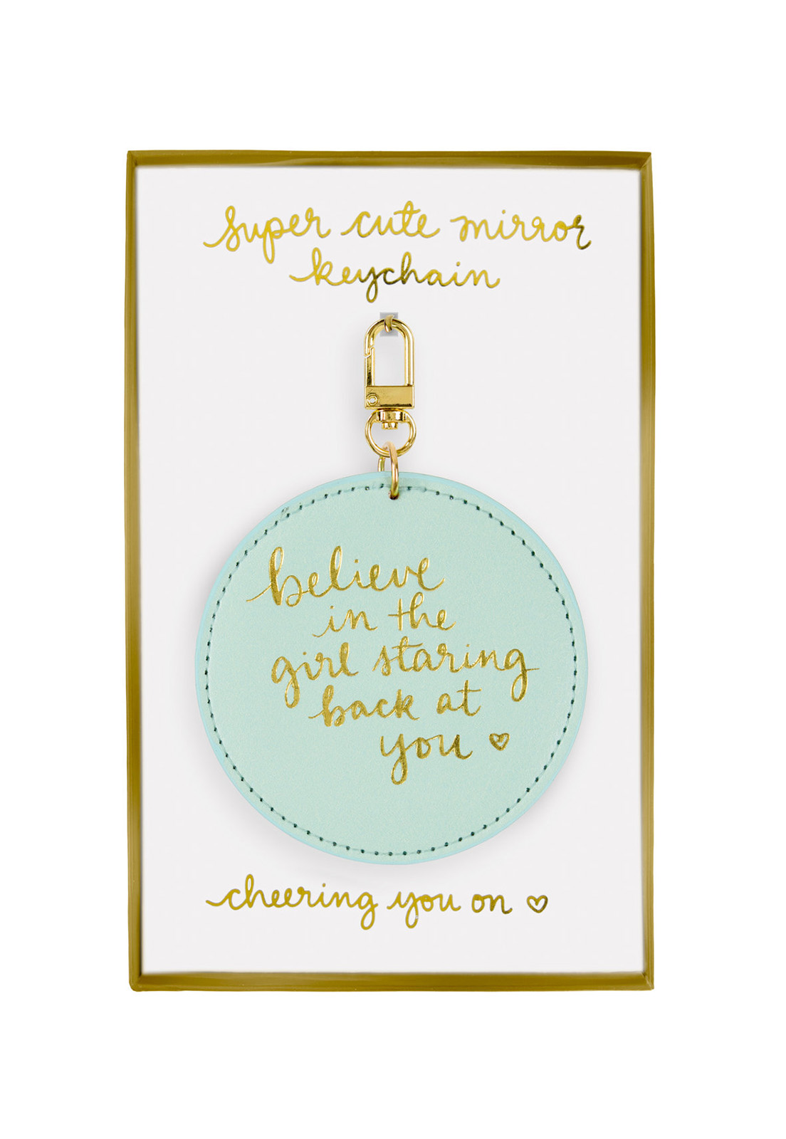 Dayna Lee Round Mirror Keychain Seafoam Believe In The Girl