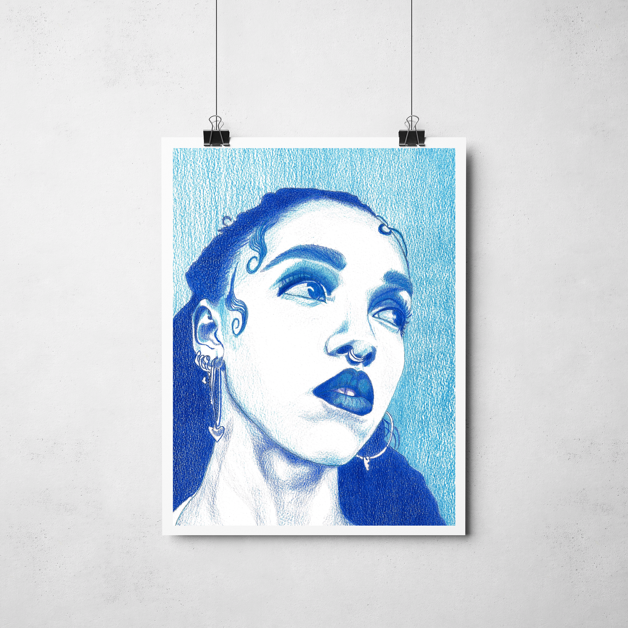 Lámina Ilustracion  FKA Twigs (azul) -  Roció Mera