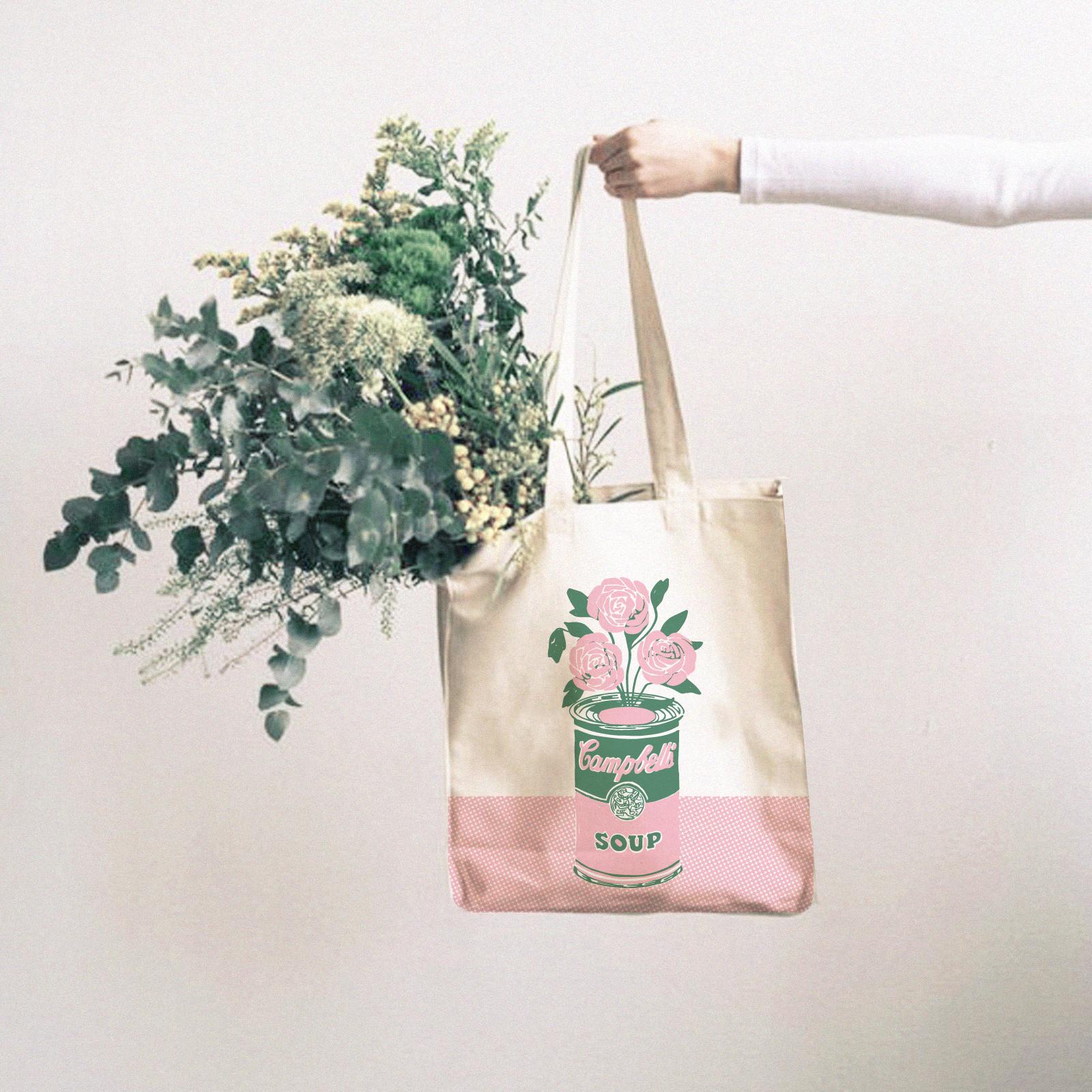 Tote Bag Campbell Rosa y Verde