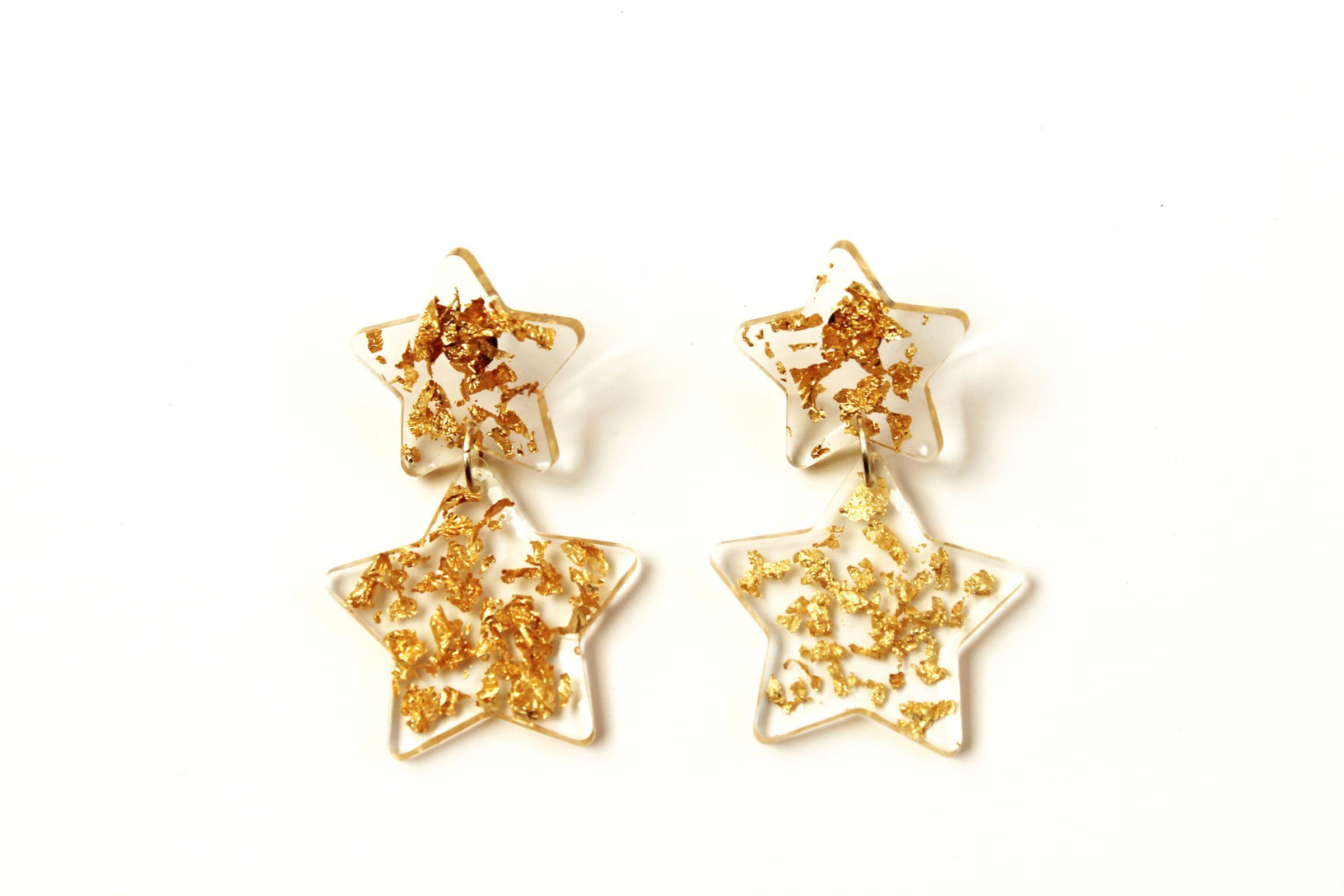 Aros Doble Estrellas Gold