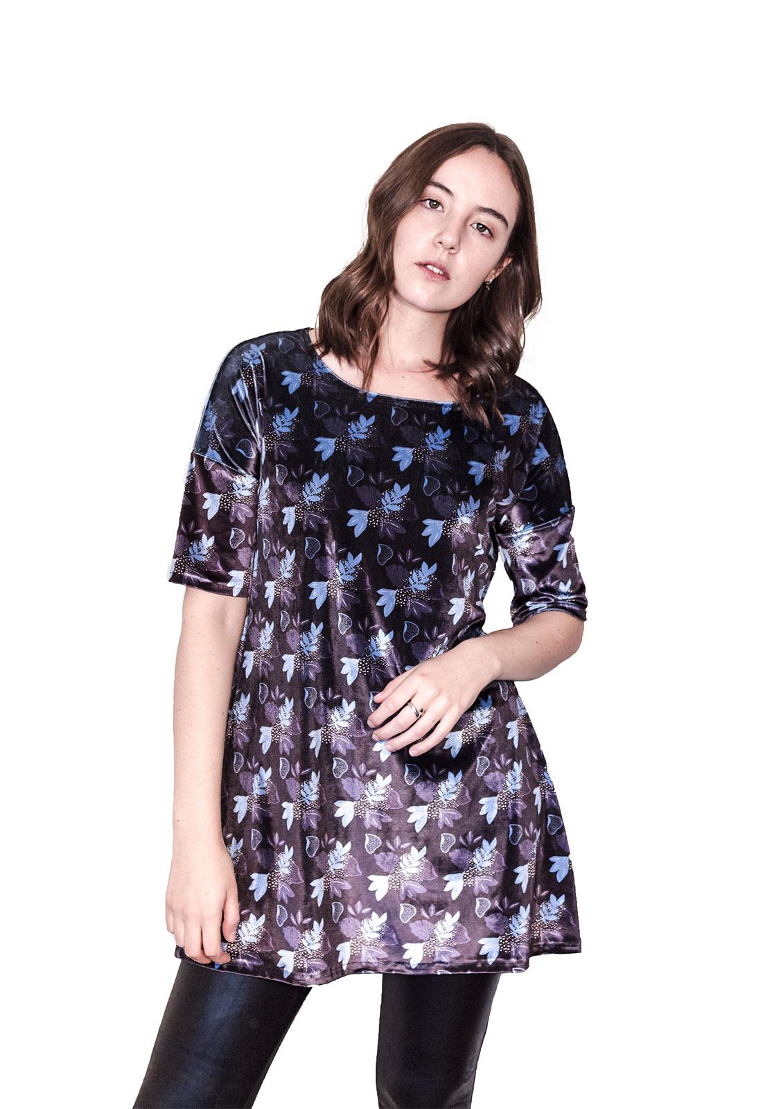 Vestido Pattern Plantas Azul