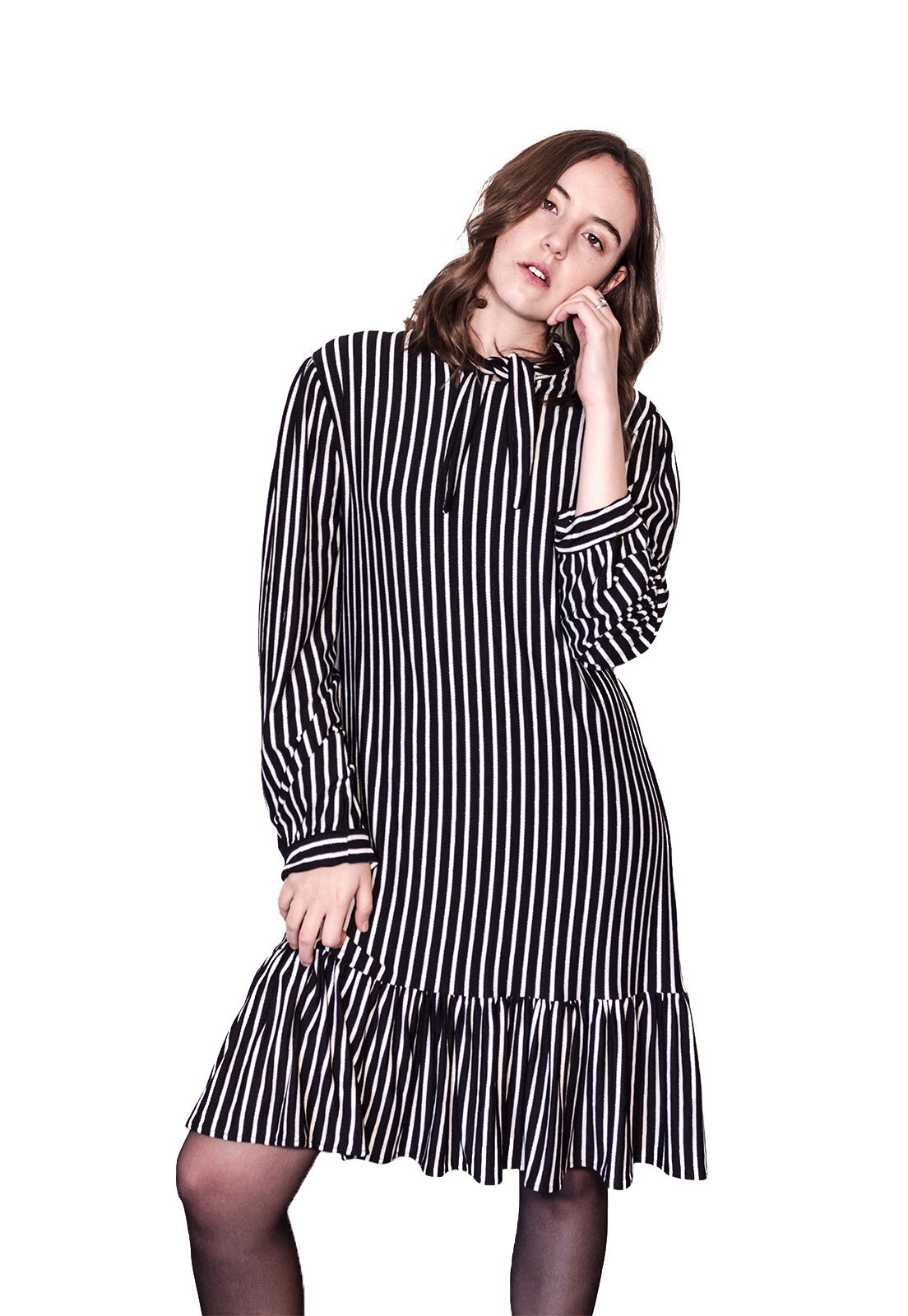 Vestido Amalia Rayado Negro