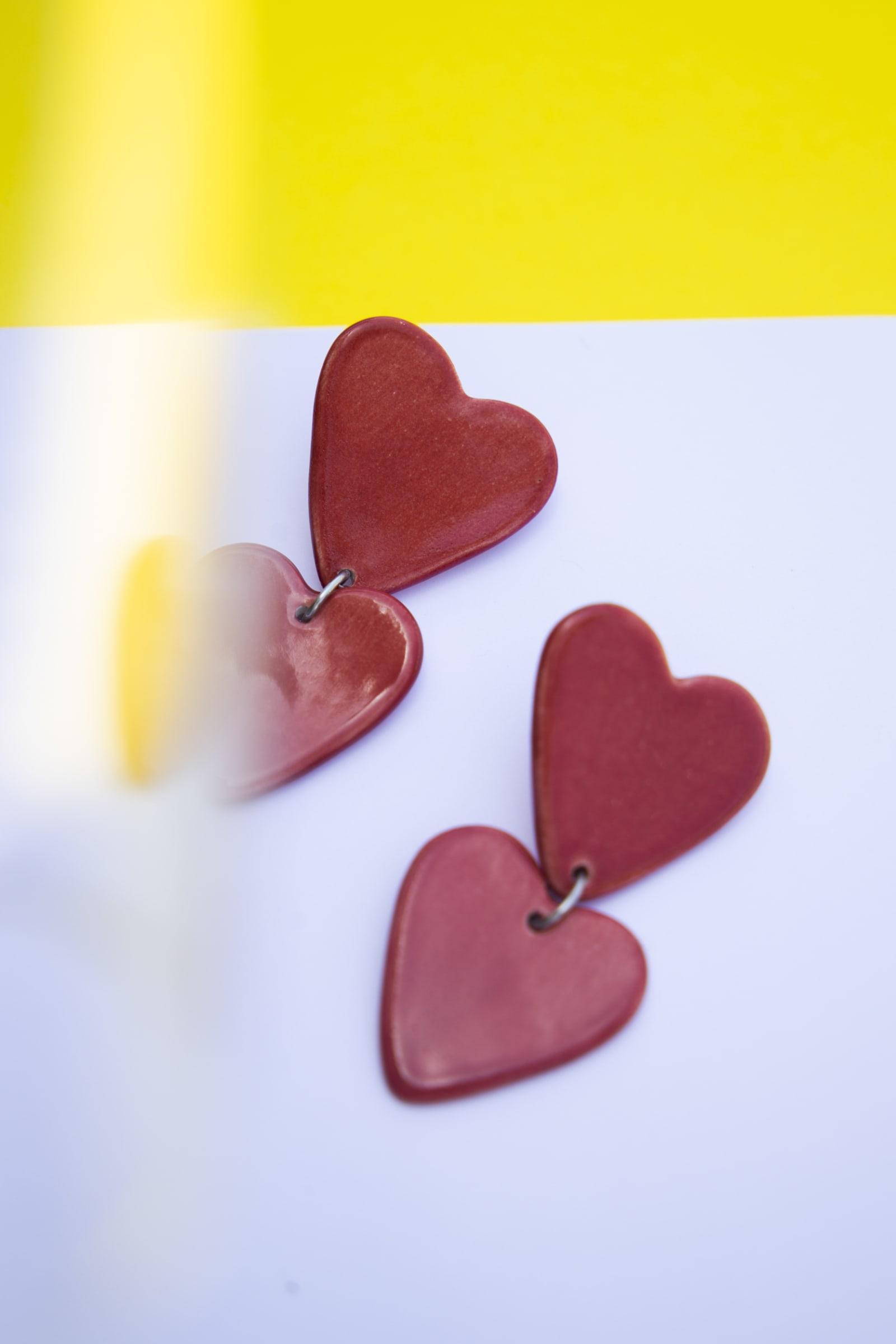 Aros Corazón rojos