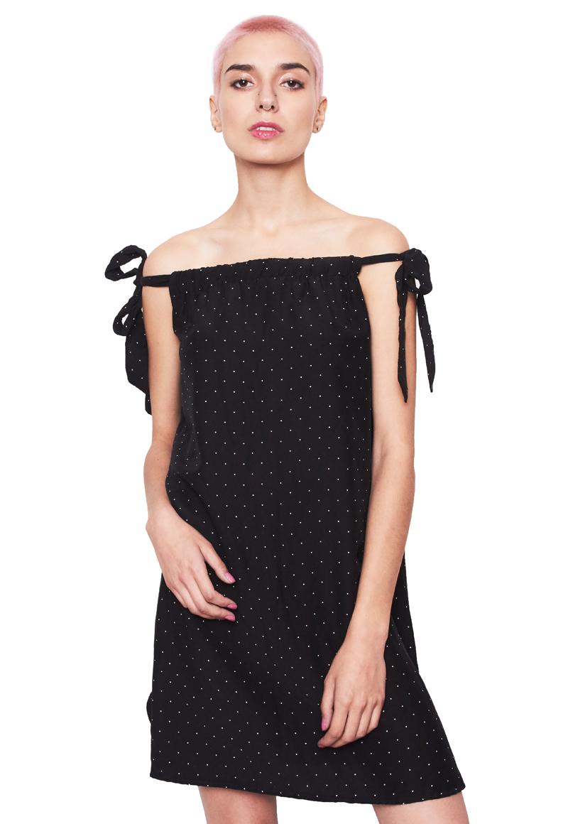 Vestido amarras negro puntos
