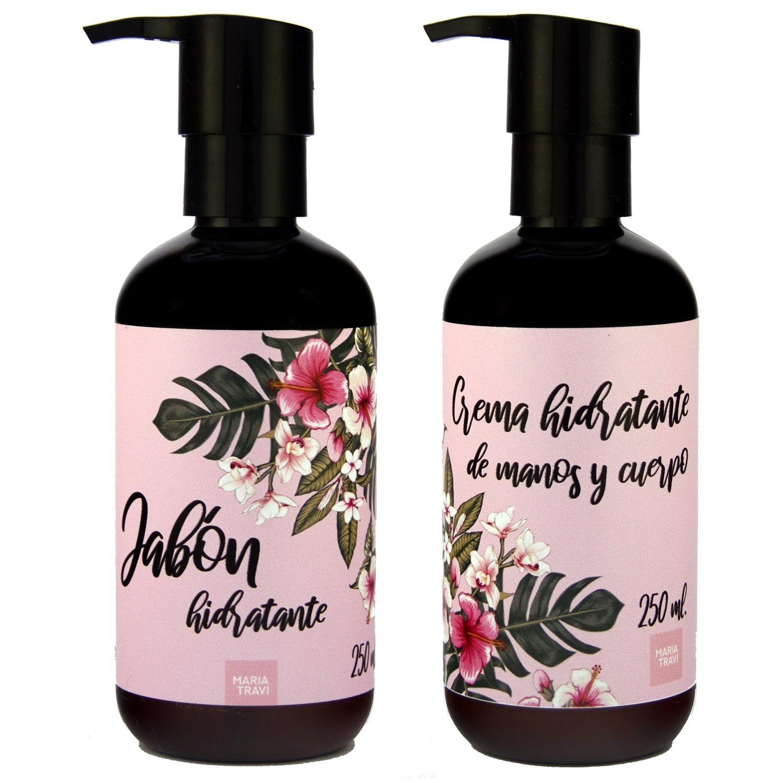 Dúo pack jabón hidratante y crema de cuerpo modelo Polinesia