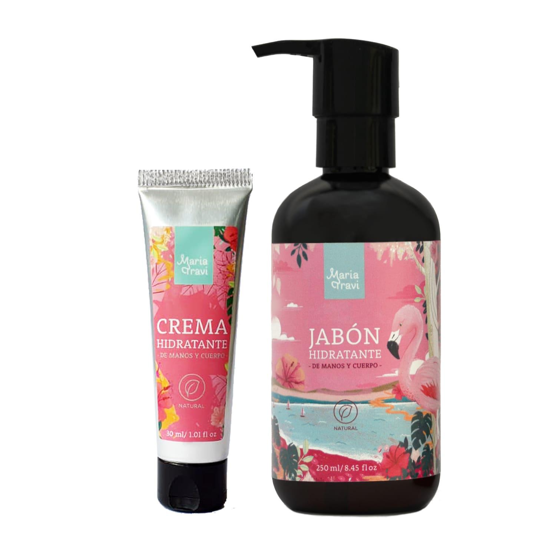 Jabón y crema de manos floral