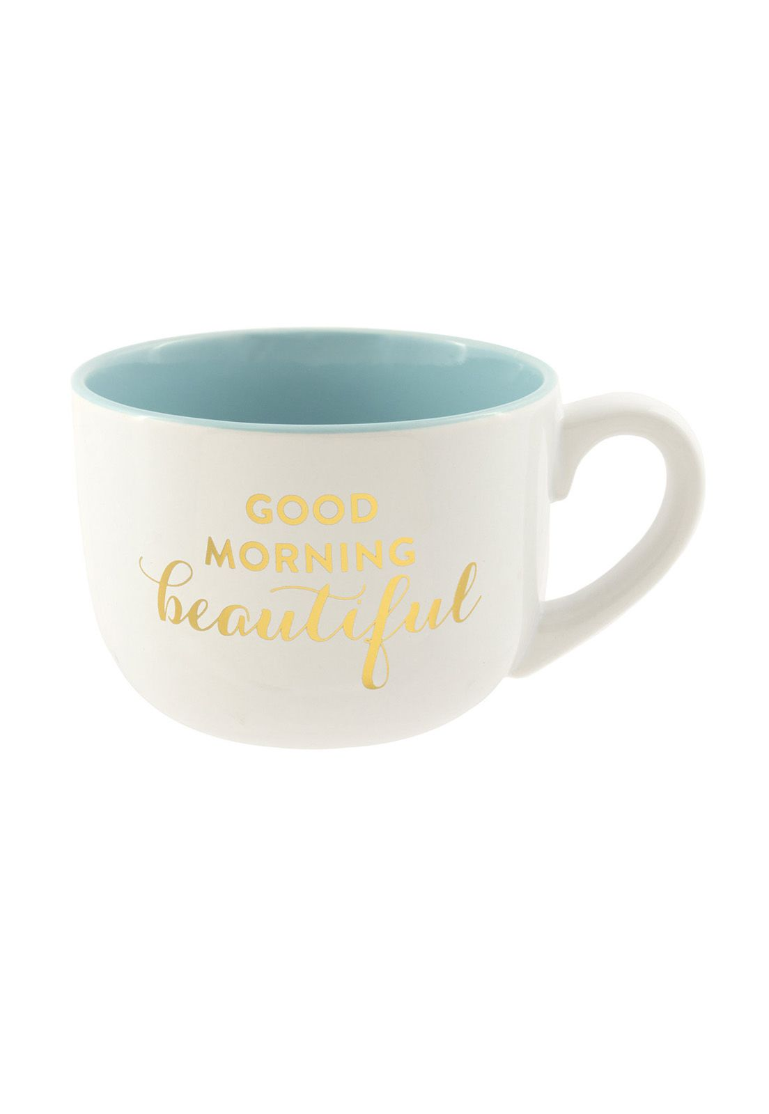 Soup Mug Teal Good Morning