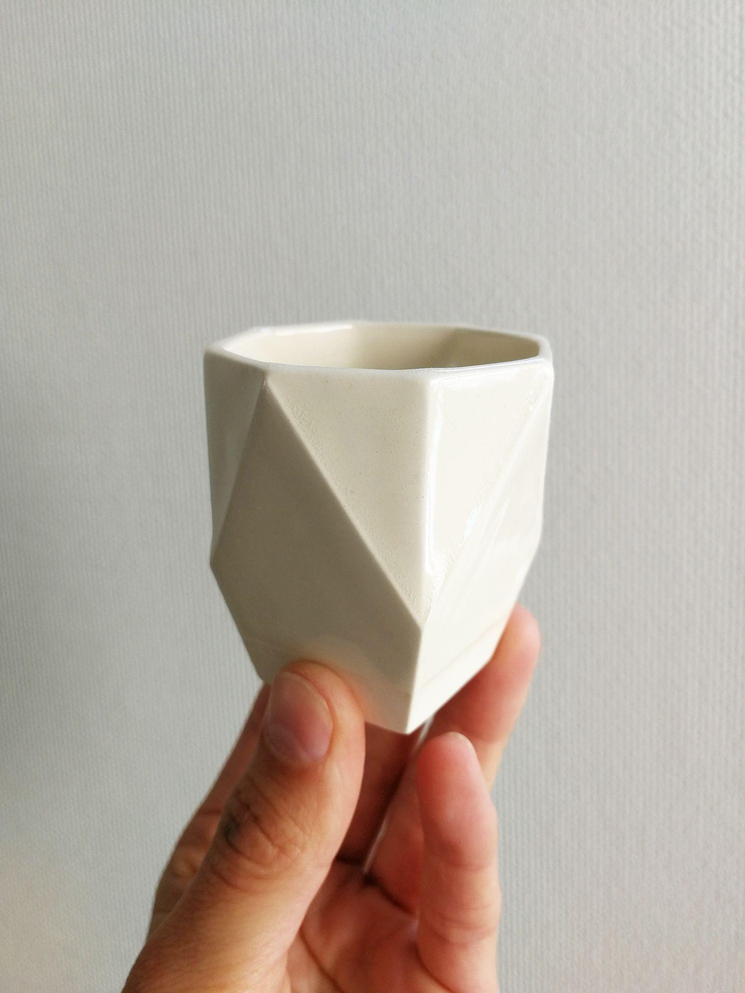 Vaso Hexagonal Ceramica Gres Tamaño Espresso Original Negativo