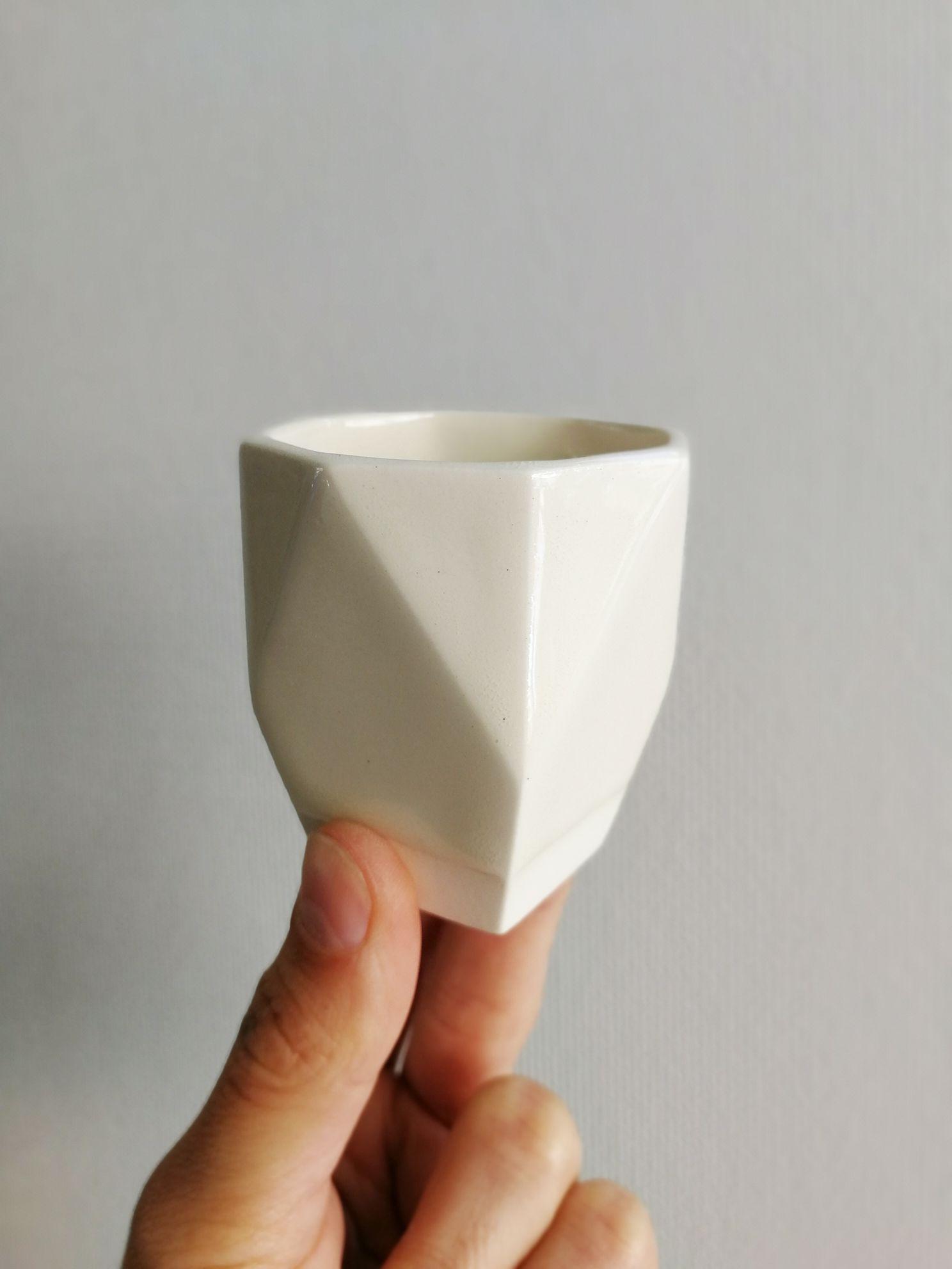 Vaso Hexagonal Ceramica Gres Tamaño Espresso Original