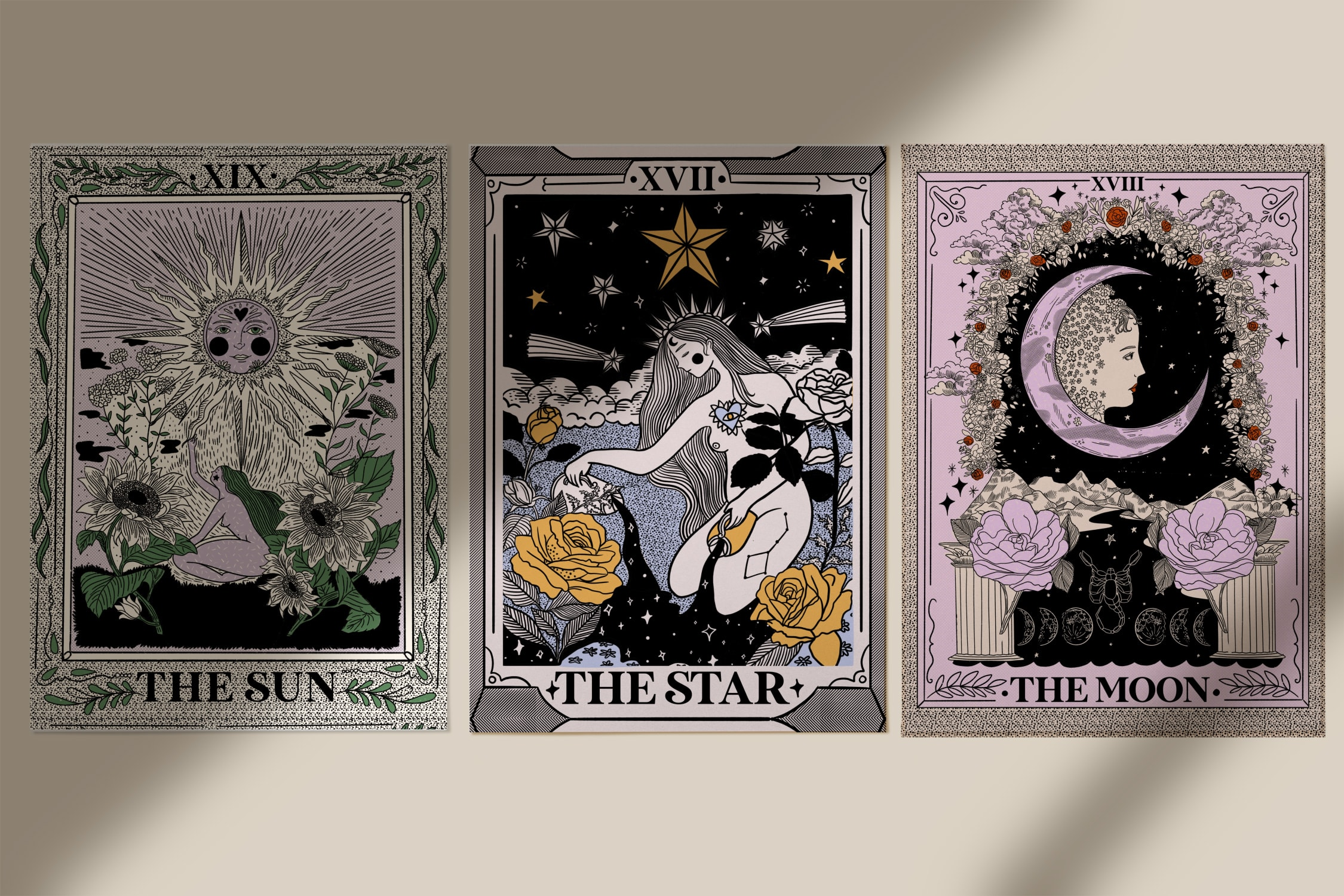 THE MOON - THE SUN - THE STAR - PACK 3 LAMINAS