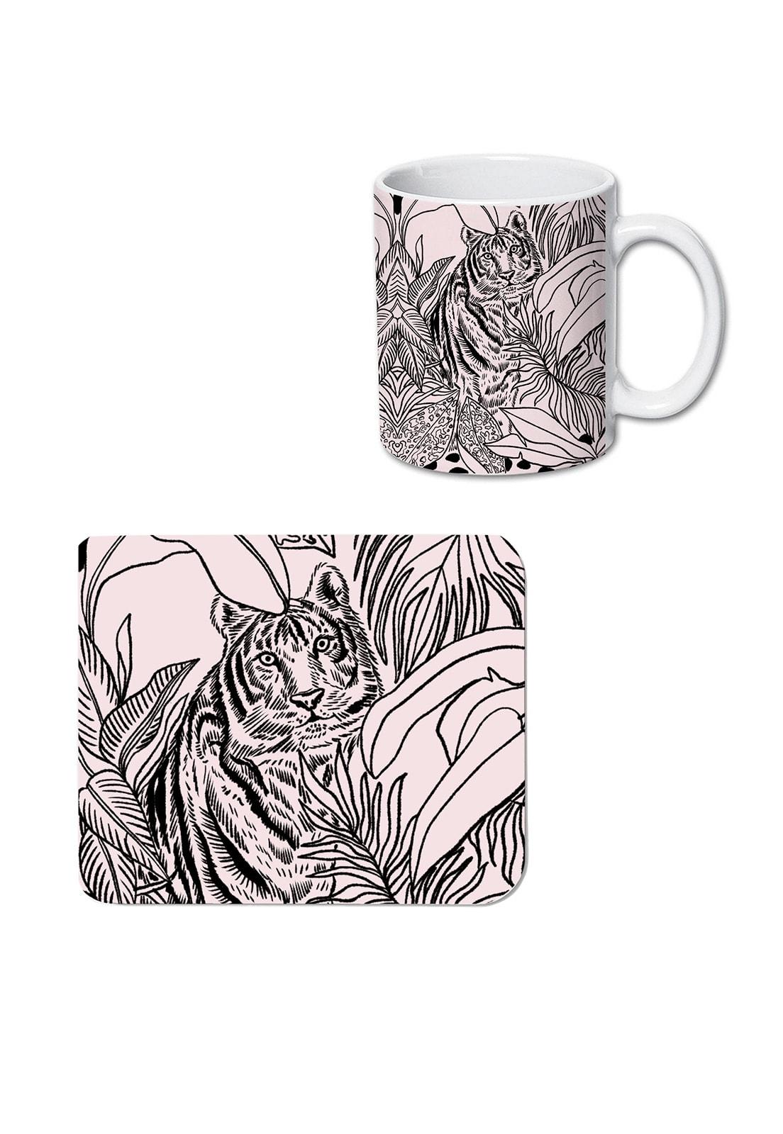 Pack tazón y mousepad tigre beige