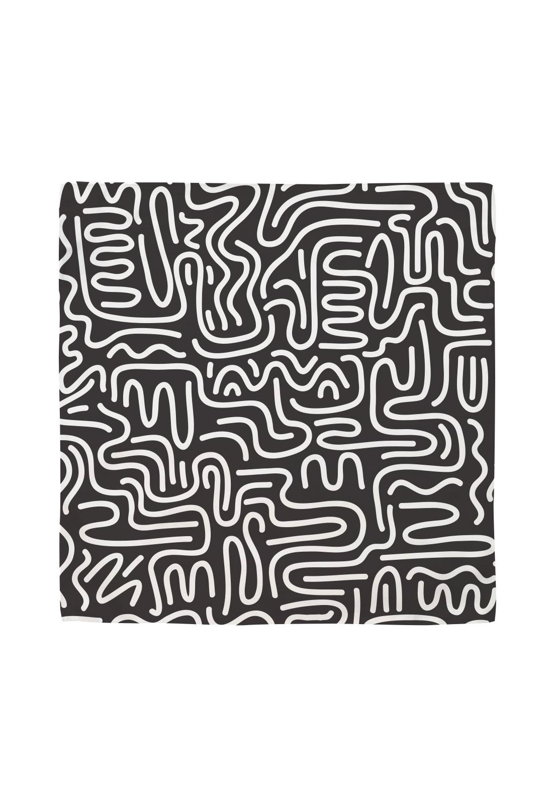 Pañuelo 50x50 negro curvas