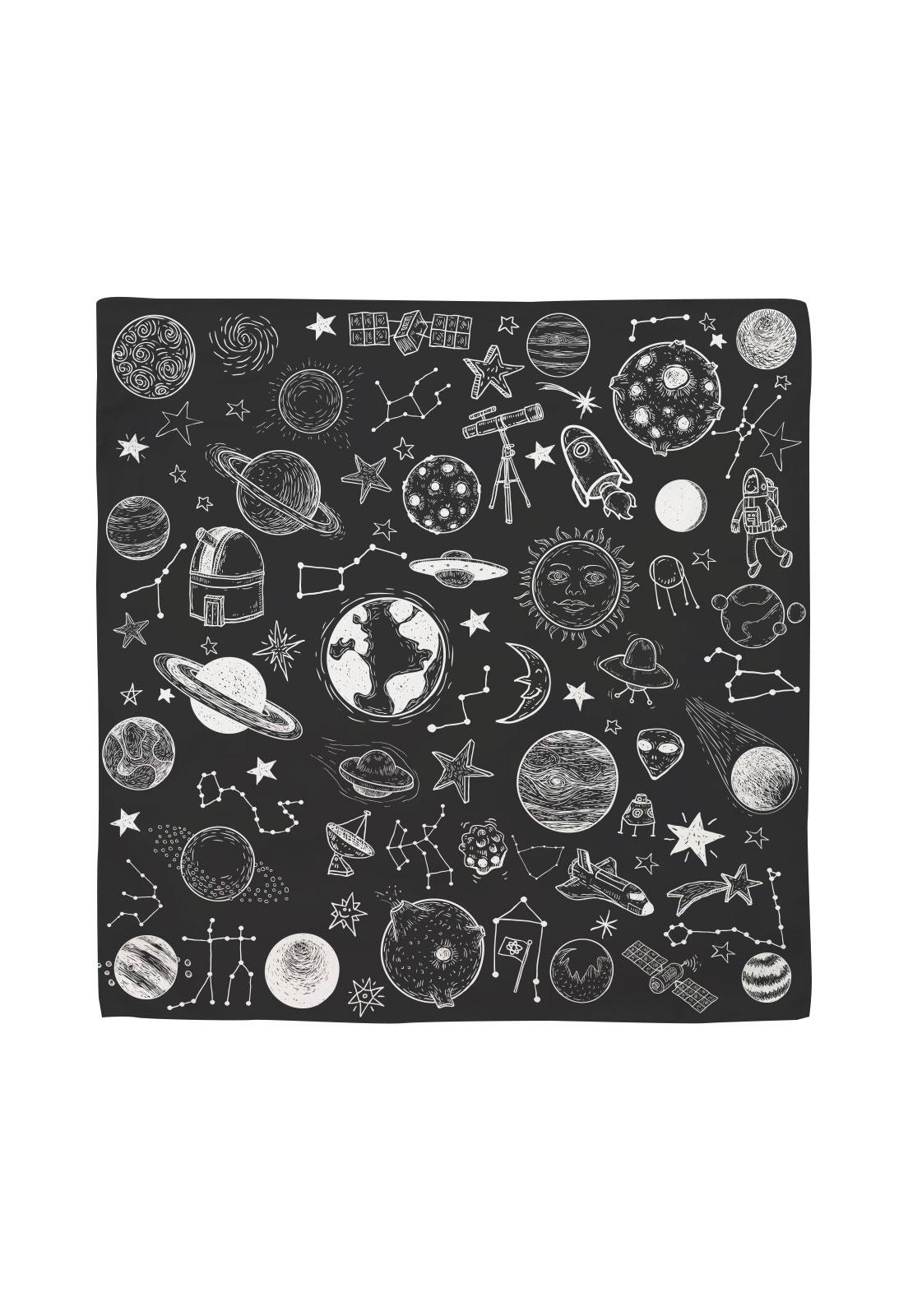 Pañuelo 50x50 galaxia blanco y negro