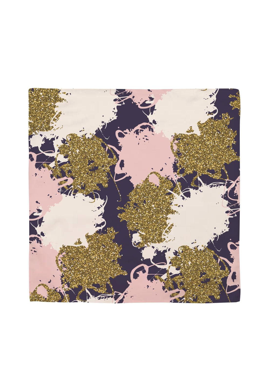 Pañuelo 50x50 rosa morado dorado