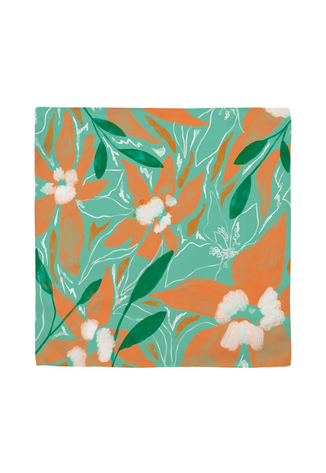 Pañuelo Floral Paint Turquesa