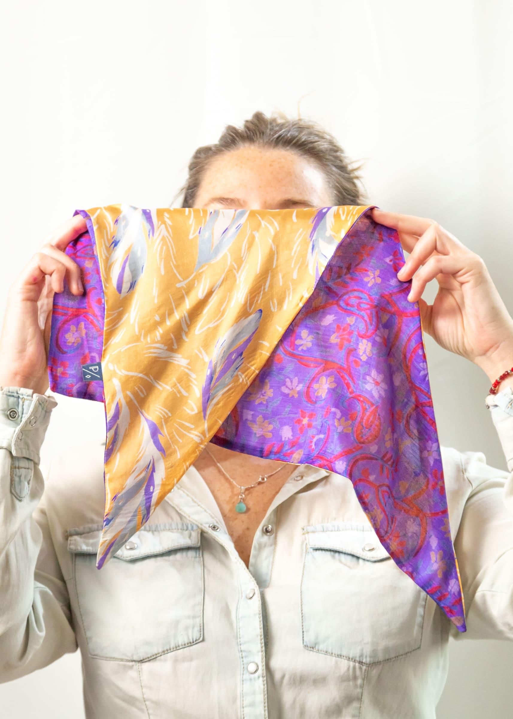 Pañoleta de Seda Reversible violeta naranjo