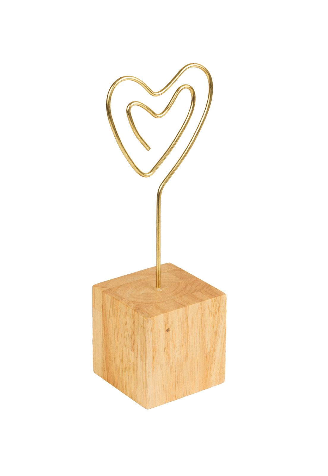 Desk Photo Clip Light Wood Block Heart